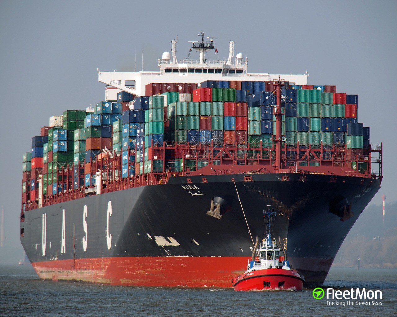 Fire on board of mega boxship Alula, Hamburg