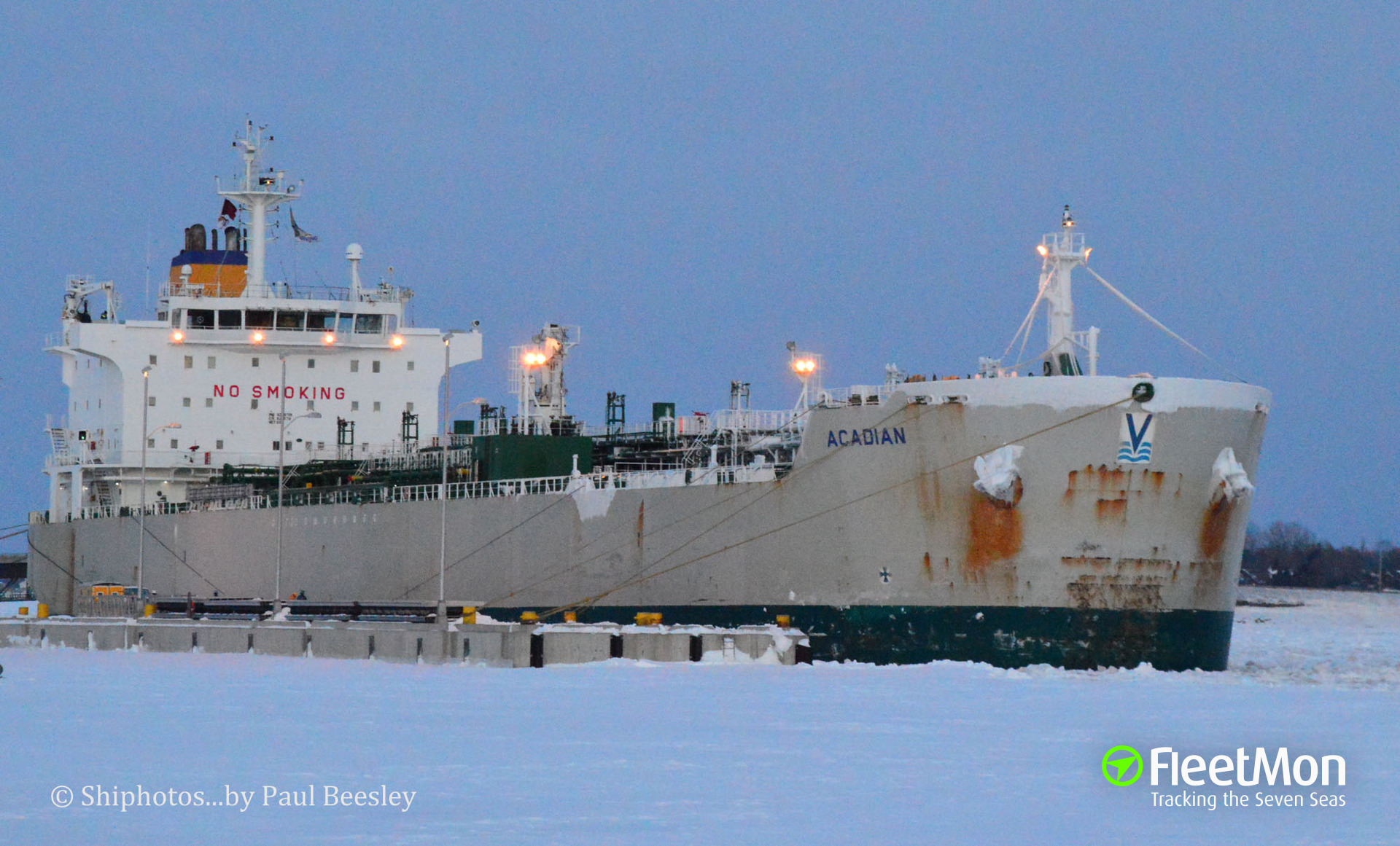 Canadian tanker Acadian stuck in ice en route to Charlottetown, Nova Scotia