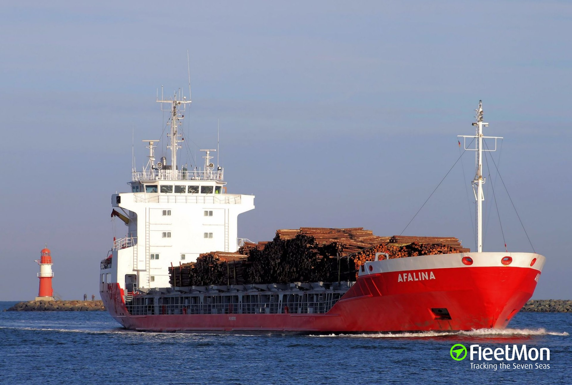 General cargo vessel AFALINA lost deck cargo in Baltic sea
