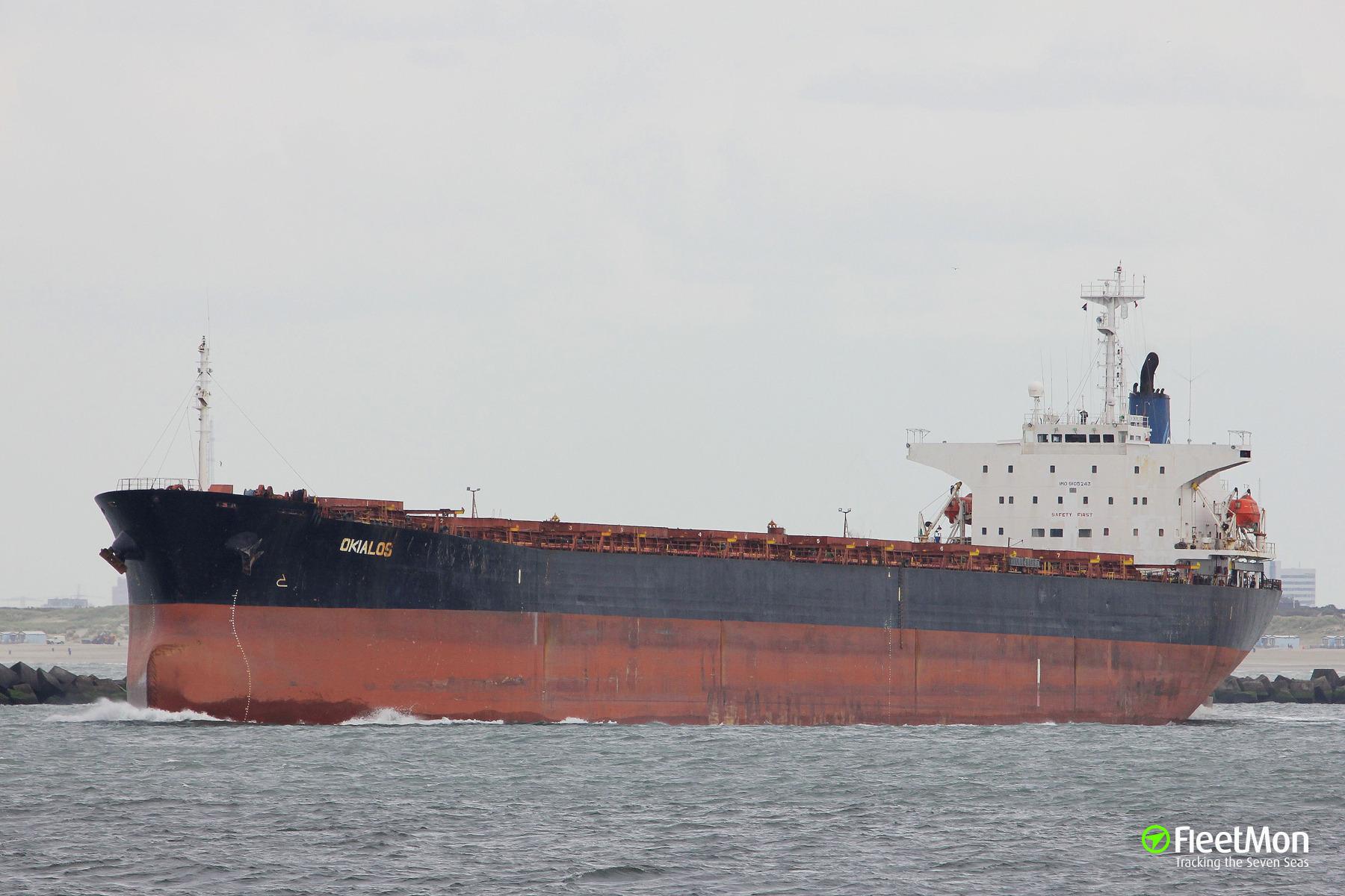 Bulk carrier Okialos limped to Ponta Delgada with engine problem