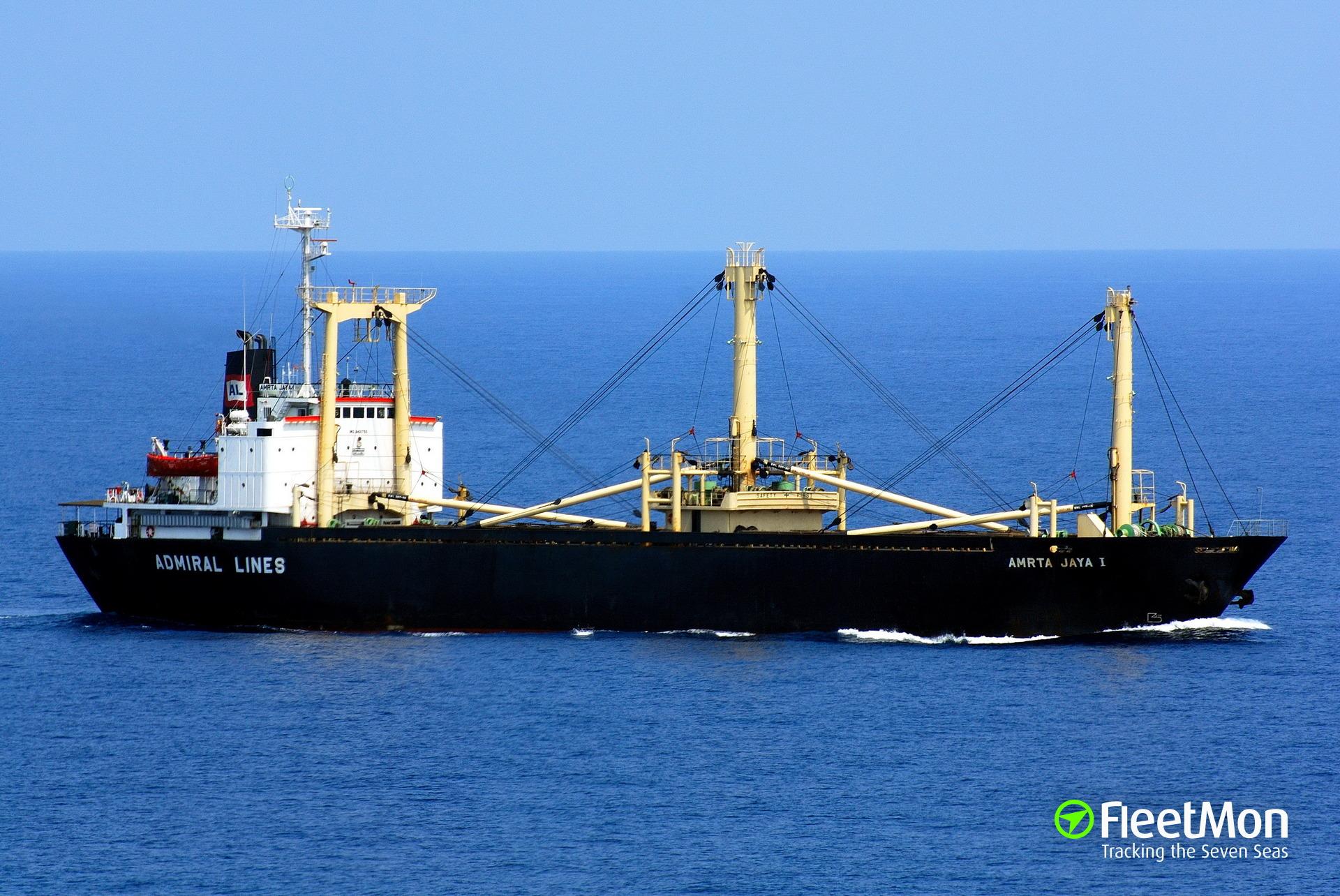 Freighter Amrta Jaya I sunk four cargo boats, Indonesia