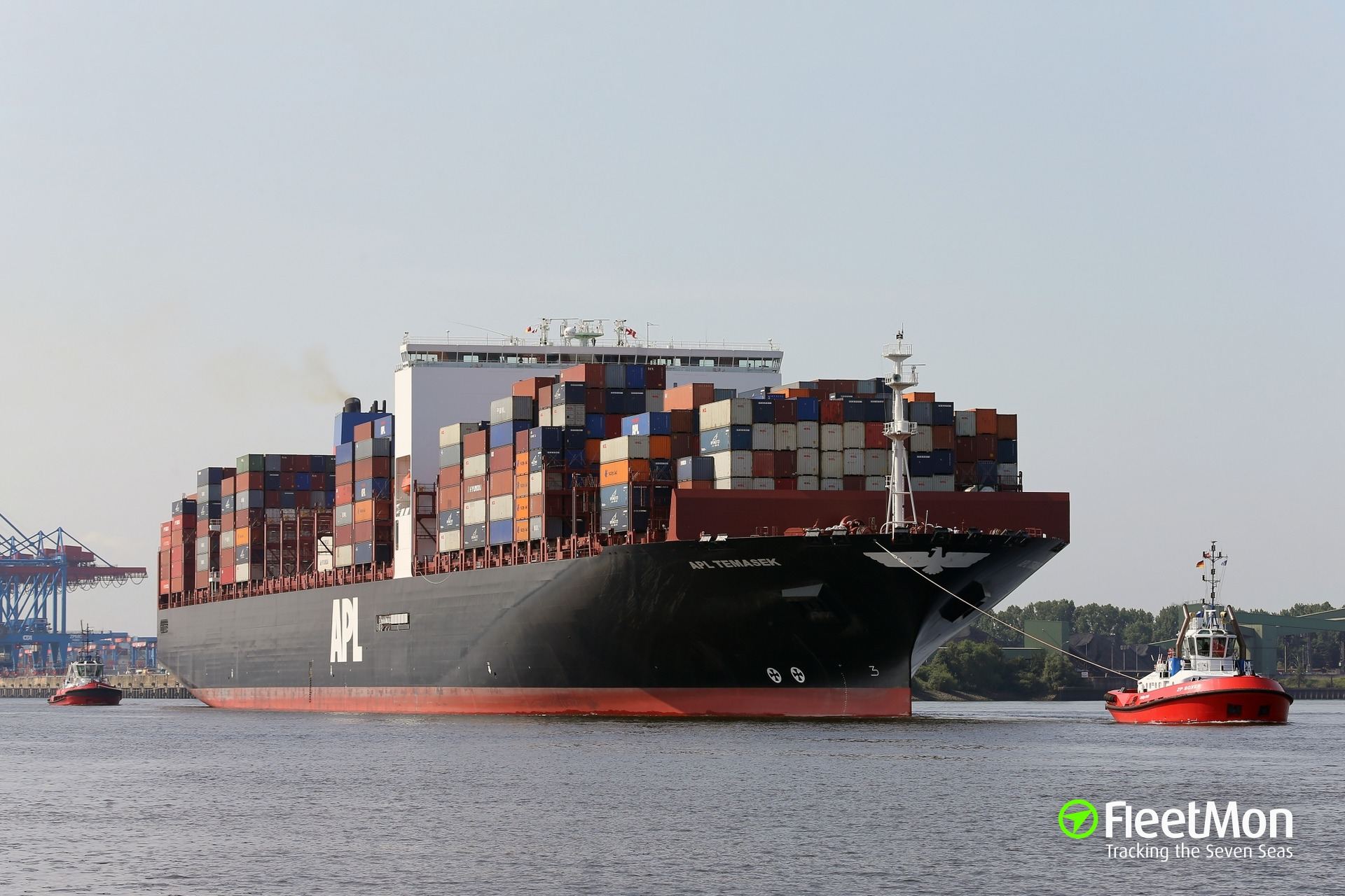Mega boxship APL TEMASEK reportedly detained for inflicting heavy damages in Port Said
