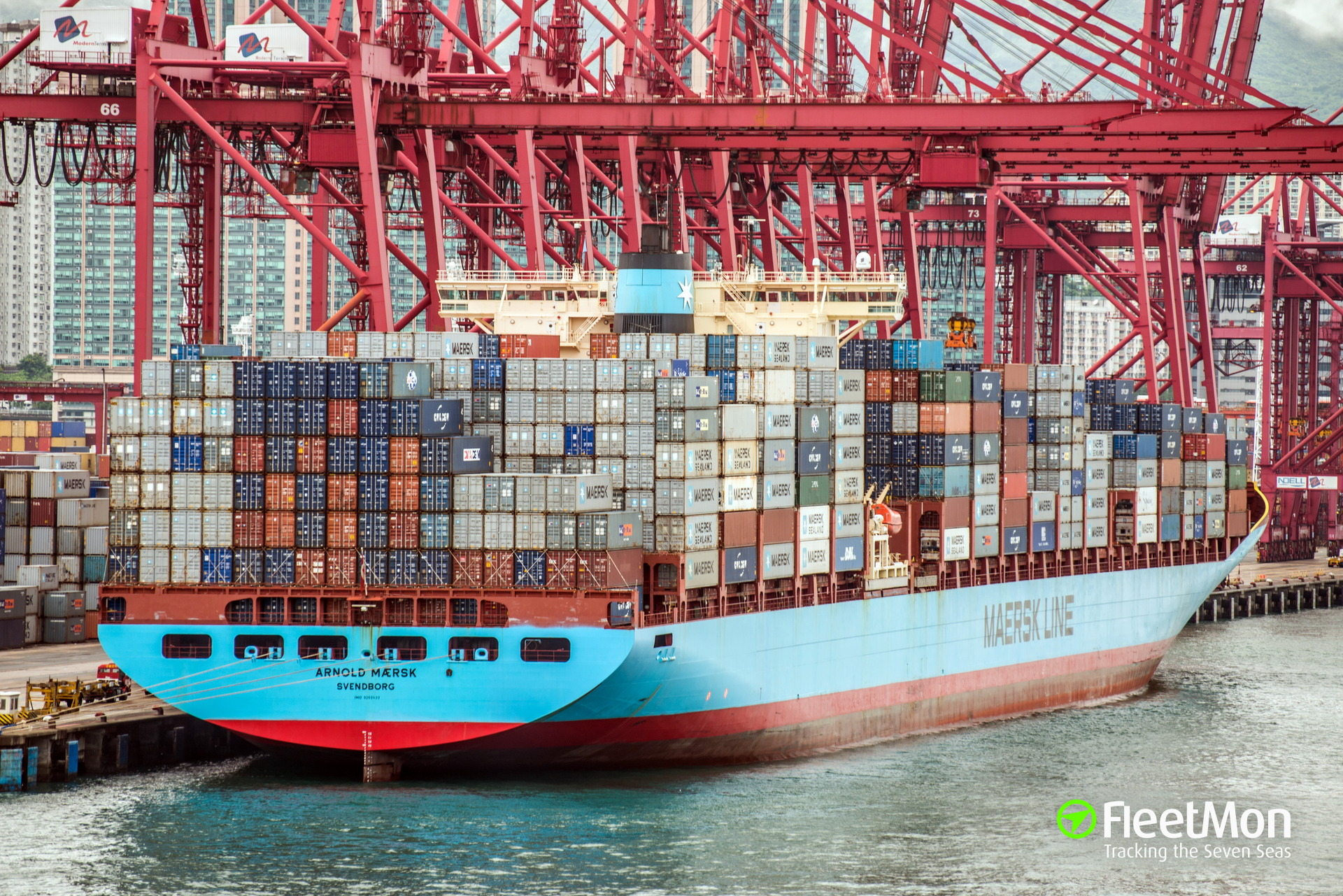 Container ship ARNOLD MAERSK lost 18 containers