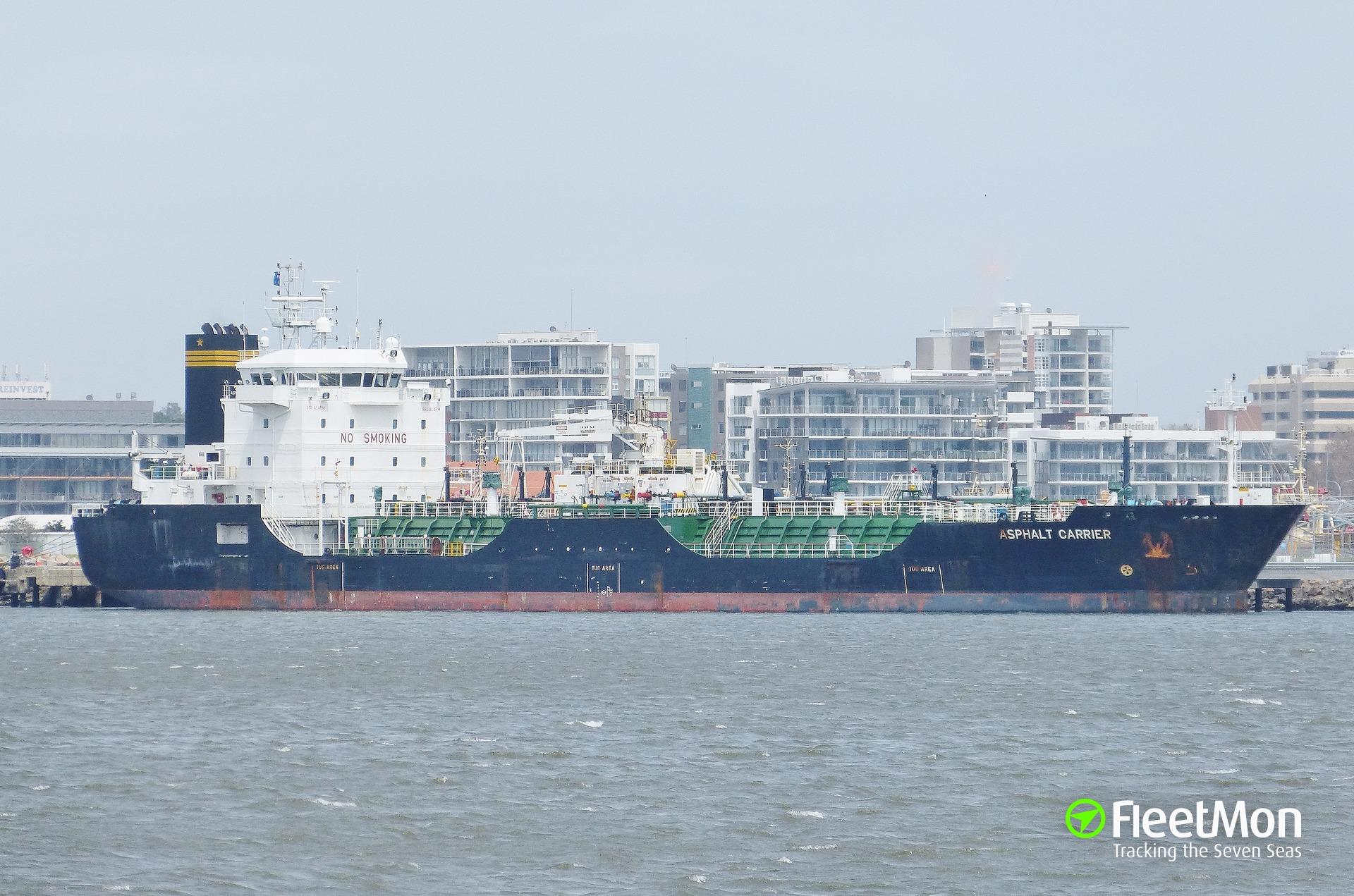 Tanker Asphalt Carrier towed to Newcastle, Australia