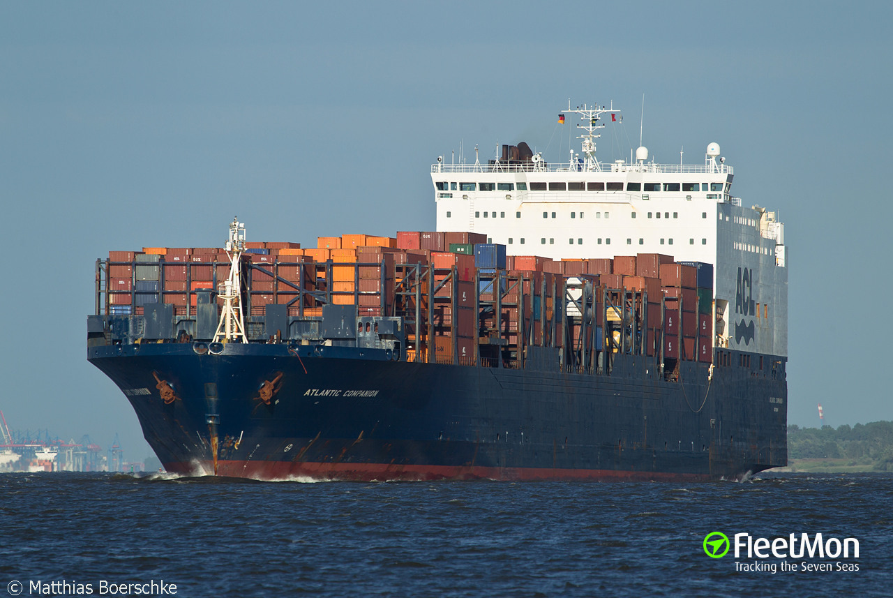 Ro-ro container ship Atlantic Companion suffered engine failure in North Atlantic
