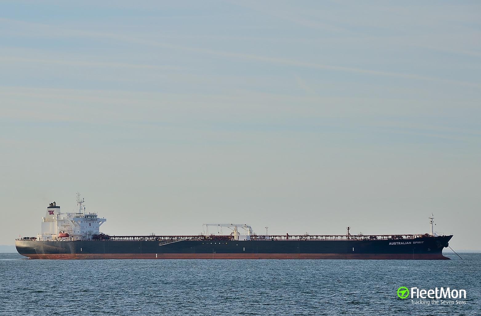 Aframax crude oil tanker Australian Spirit on tow to Halifax