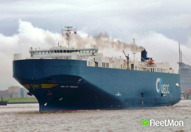 Car carrier disabled by fire, North sea