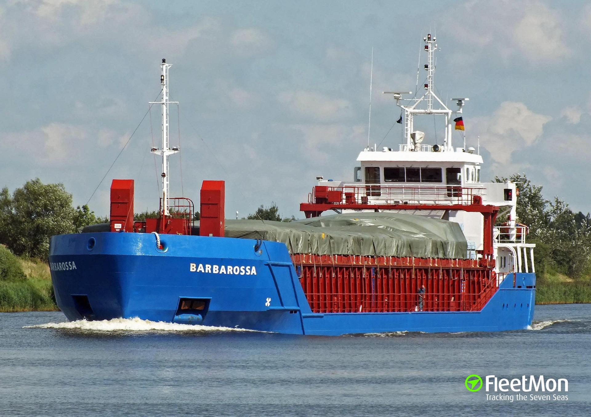 Freighter damaged in grounding, Denmark