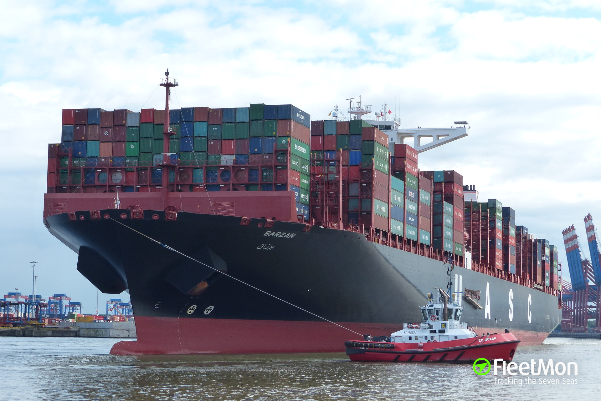 Ultra-large container ship Barzan fire