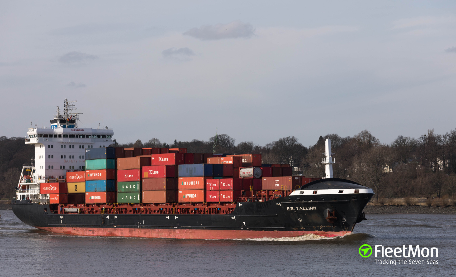 Container ship damaged in allision with lock wall, Kiel Canal