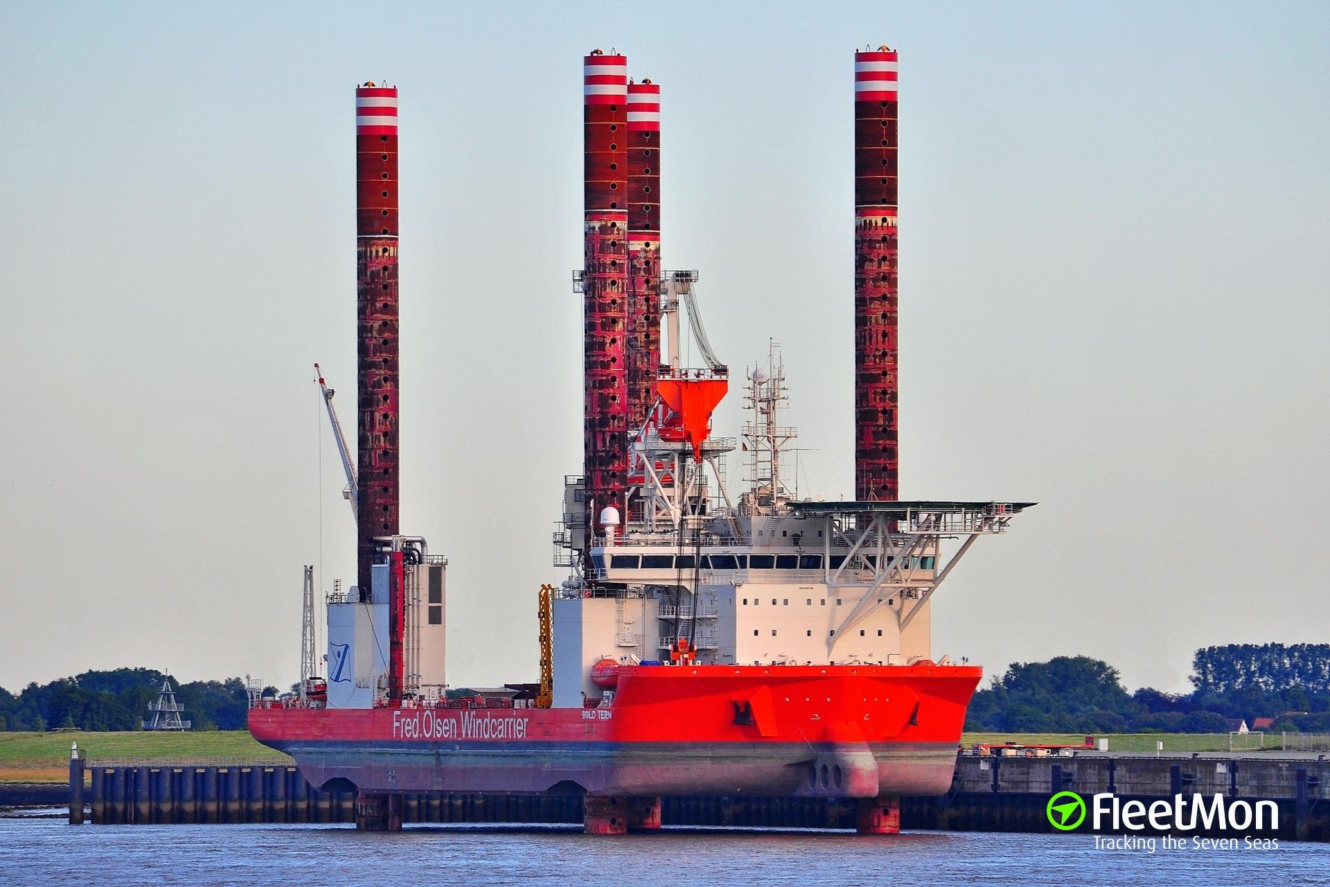 Fire on board of a wind farm support vessel Bold Tern
