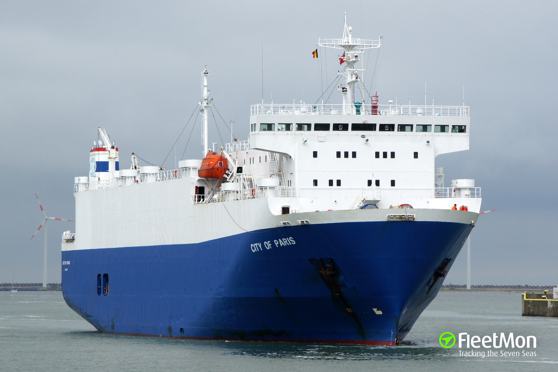 Car carrier City of Paris under tow to Falmouth, English Canal