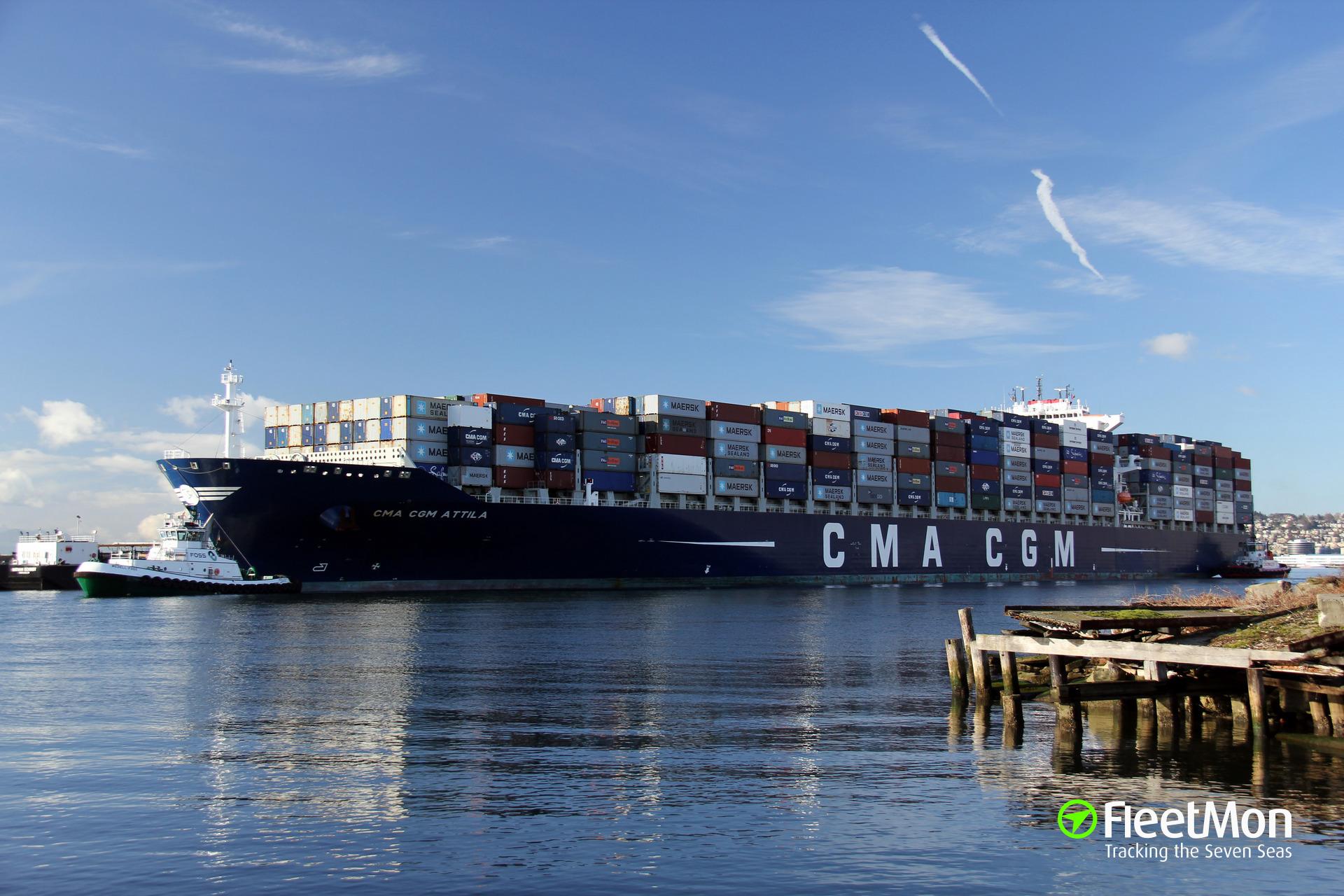 CMA CGM Attila allided with berth, Vancouver