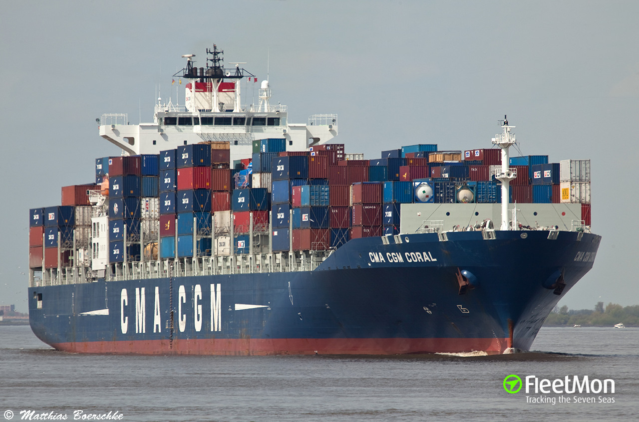 cma cgm coral current position