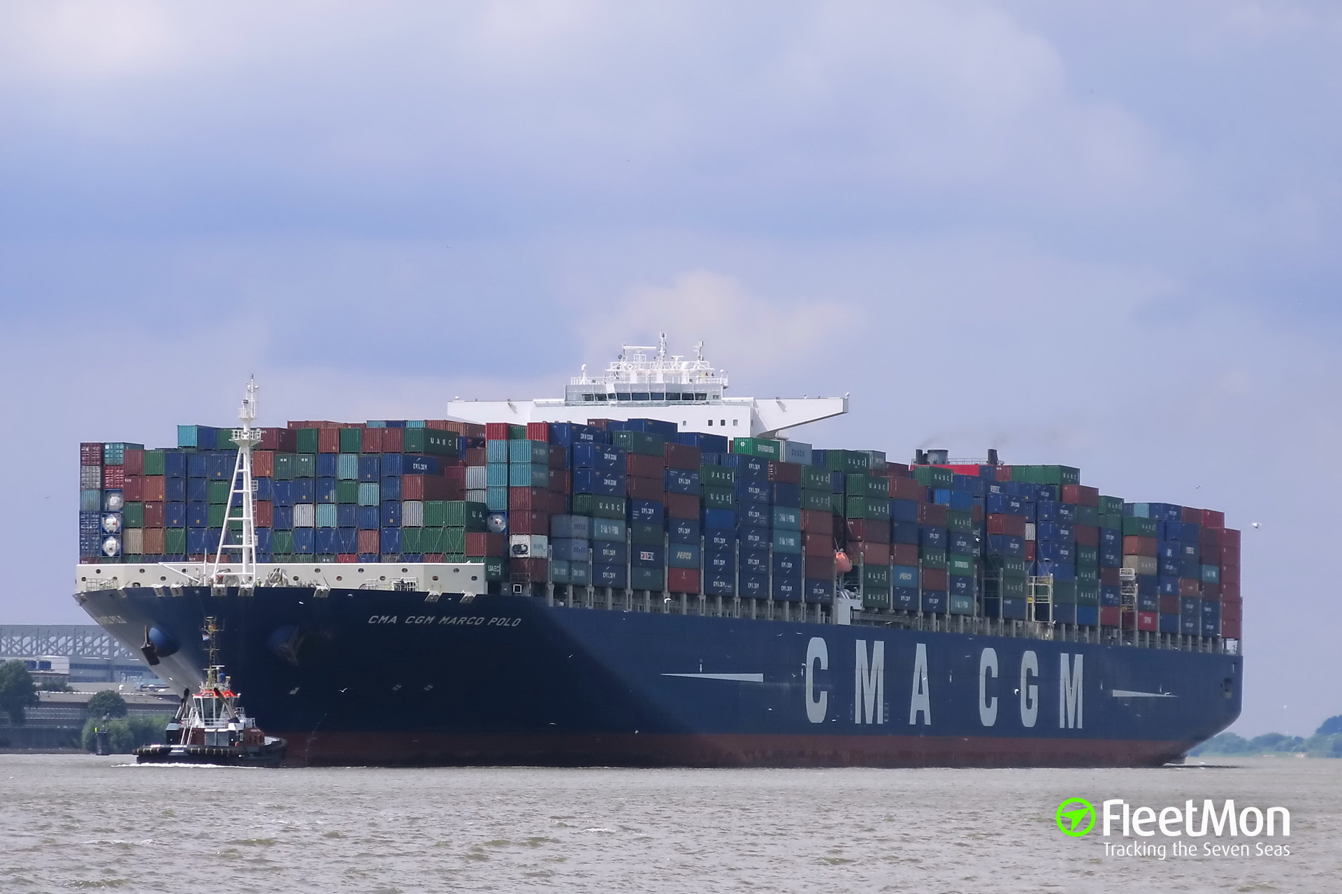 MARCO POLO, largest container ship of the world, to call Hamburg today