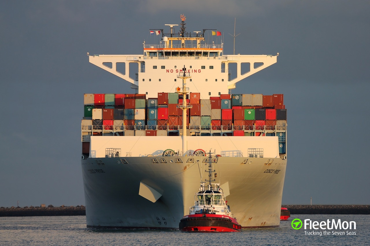 Mega container ship disabled, English Channel
