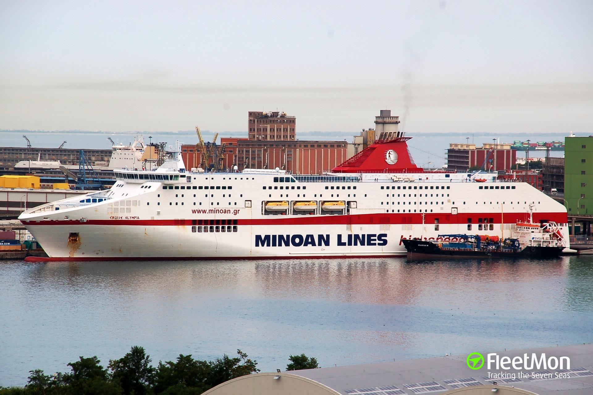 Italian cruise ship CRUISE OLYMPIA contacted Greek ferry, damaged