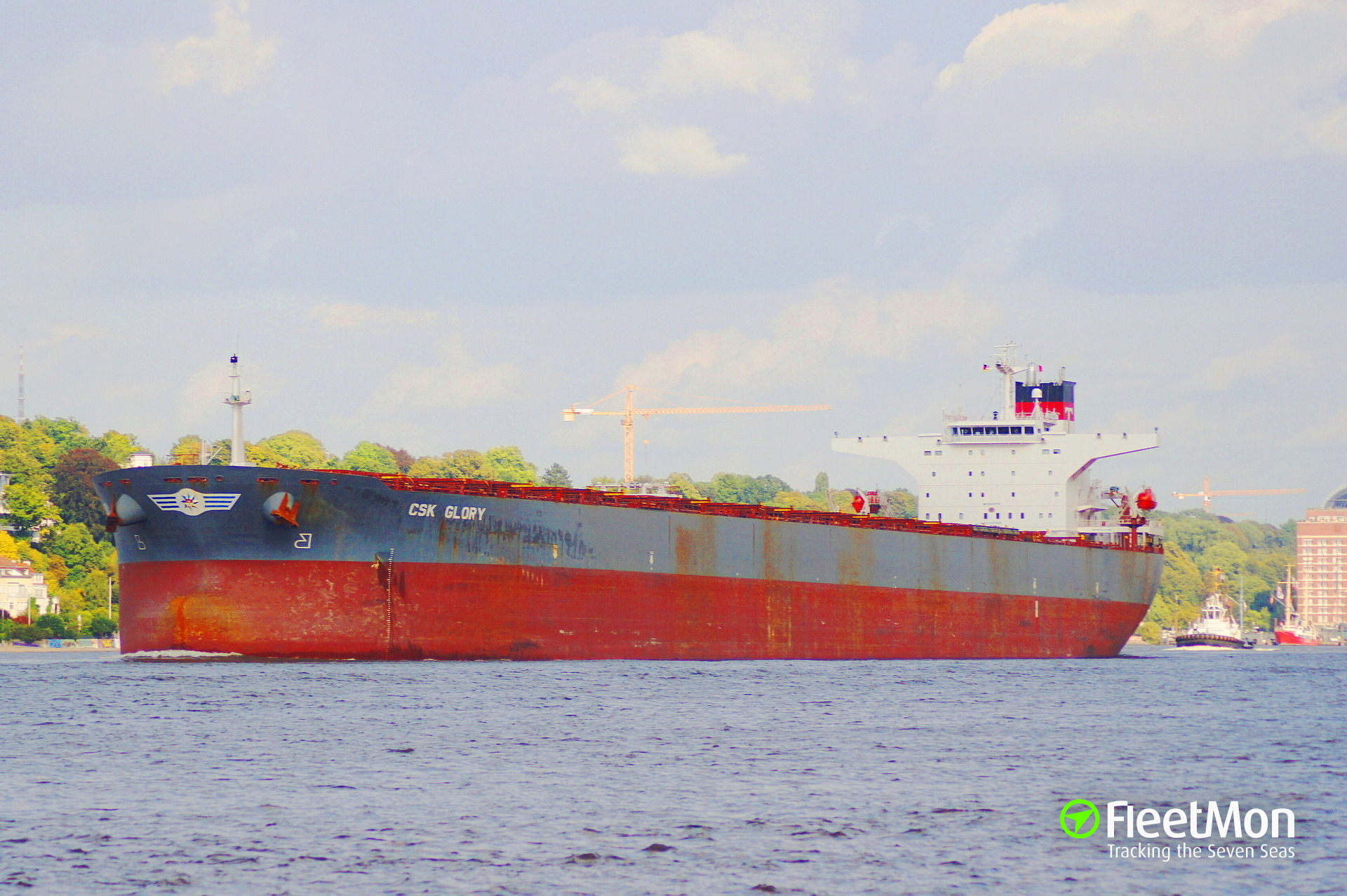 Bulk carrier CSK Glory towed to Frederica after explosion, Denmark