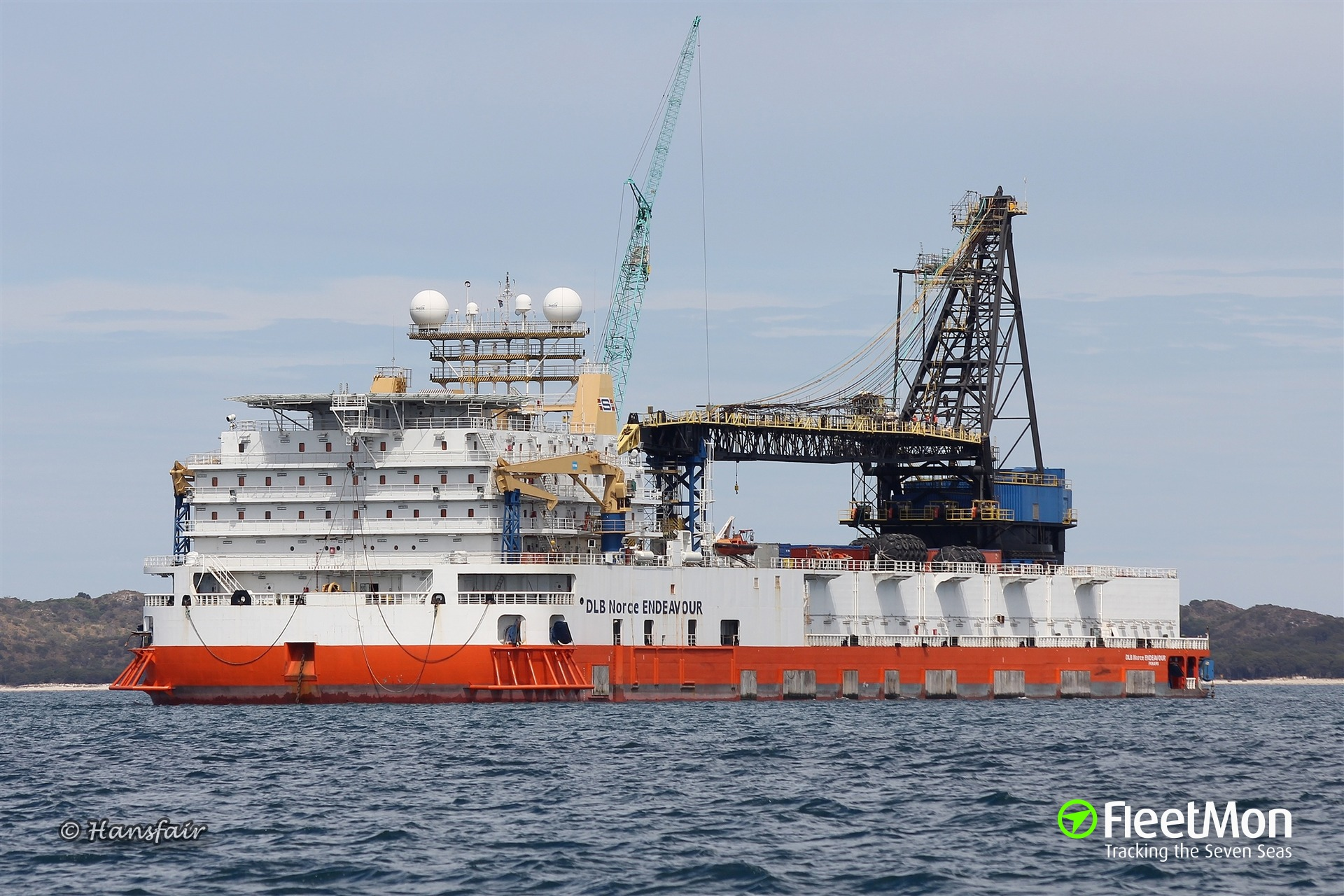 Marine pipe-laying barge DLB Norce Endeavour disabled and adrift in Indian ocean