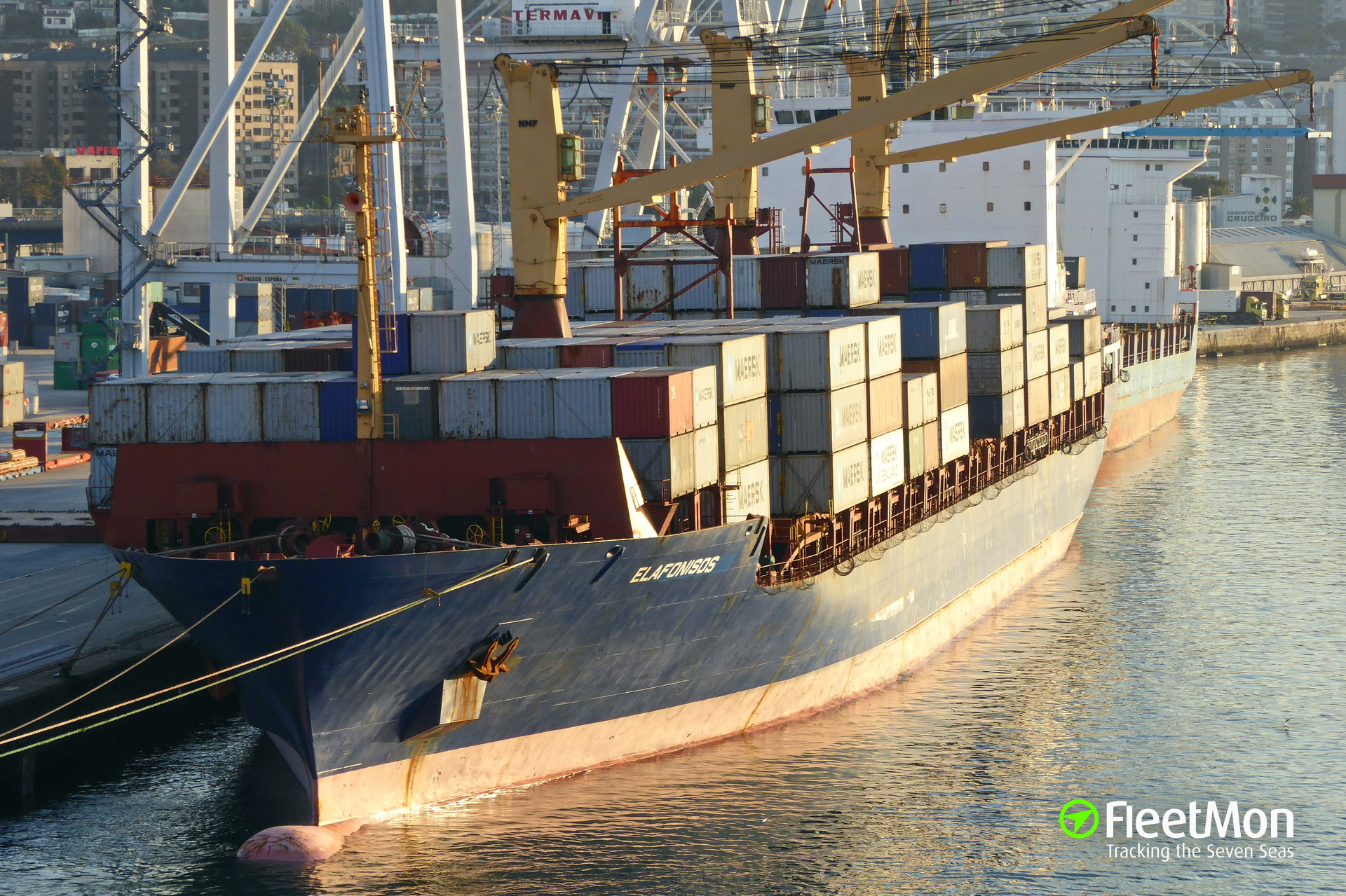 Ro-ro passenger ship EL VENIZELOS collided with boxship ELAFONISOS, Piraeus