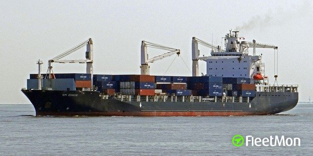 Container ship disabled by fire, on tow, Mozambique Channel