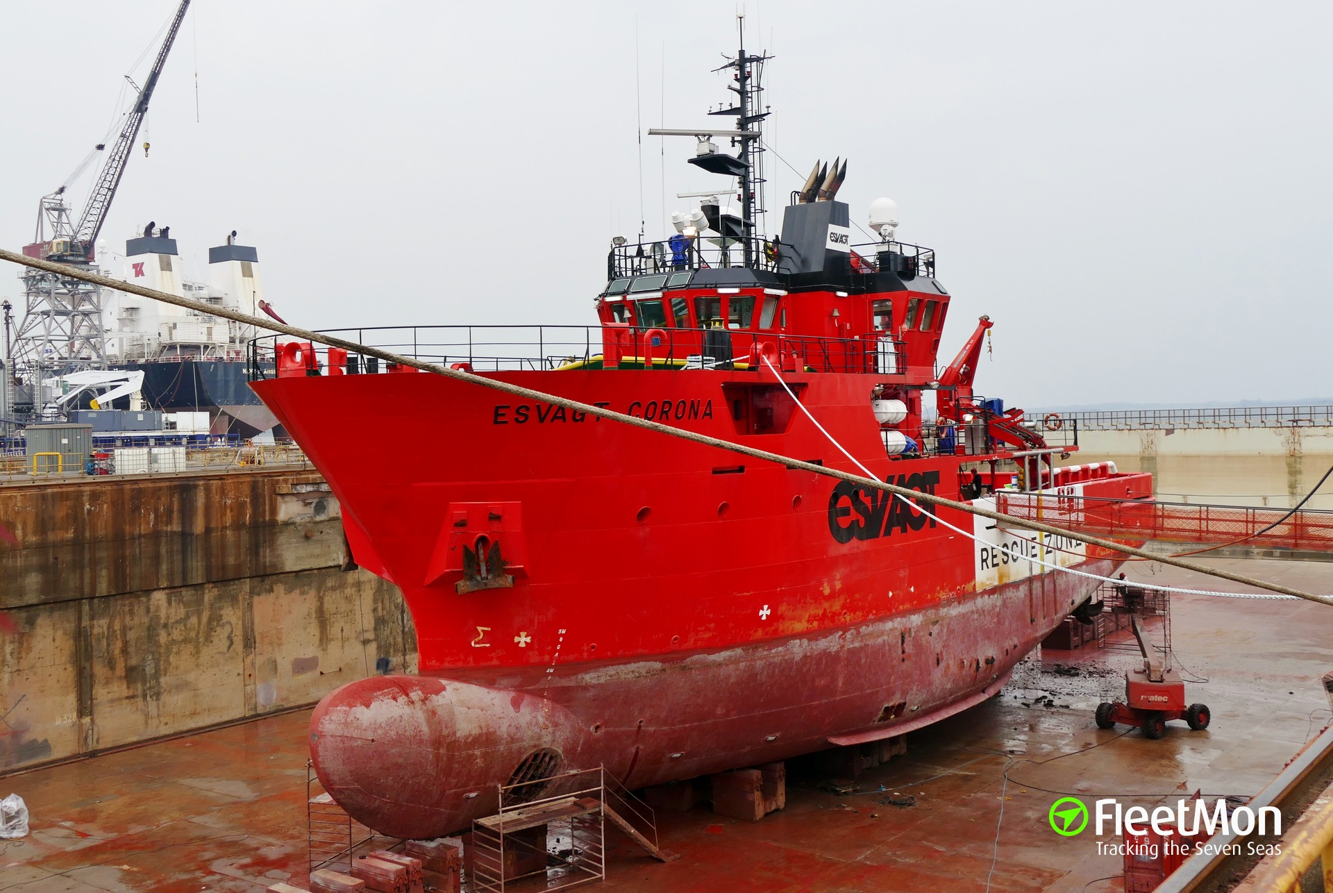 Offshore rescue vessel Esvagt Corona aground and refloated, Denmark