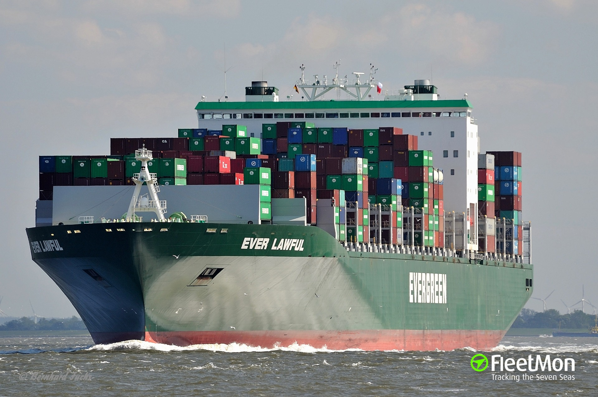 Boxship Ever Lawful allided with pier, Piraeus