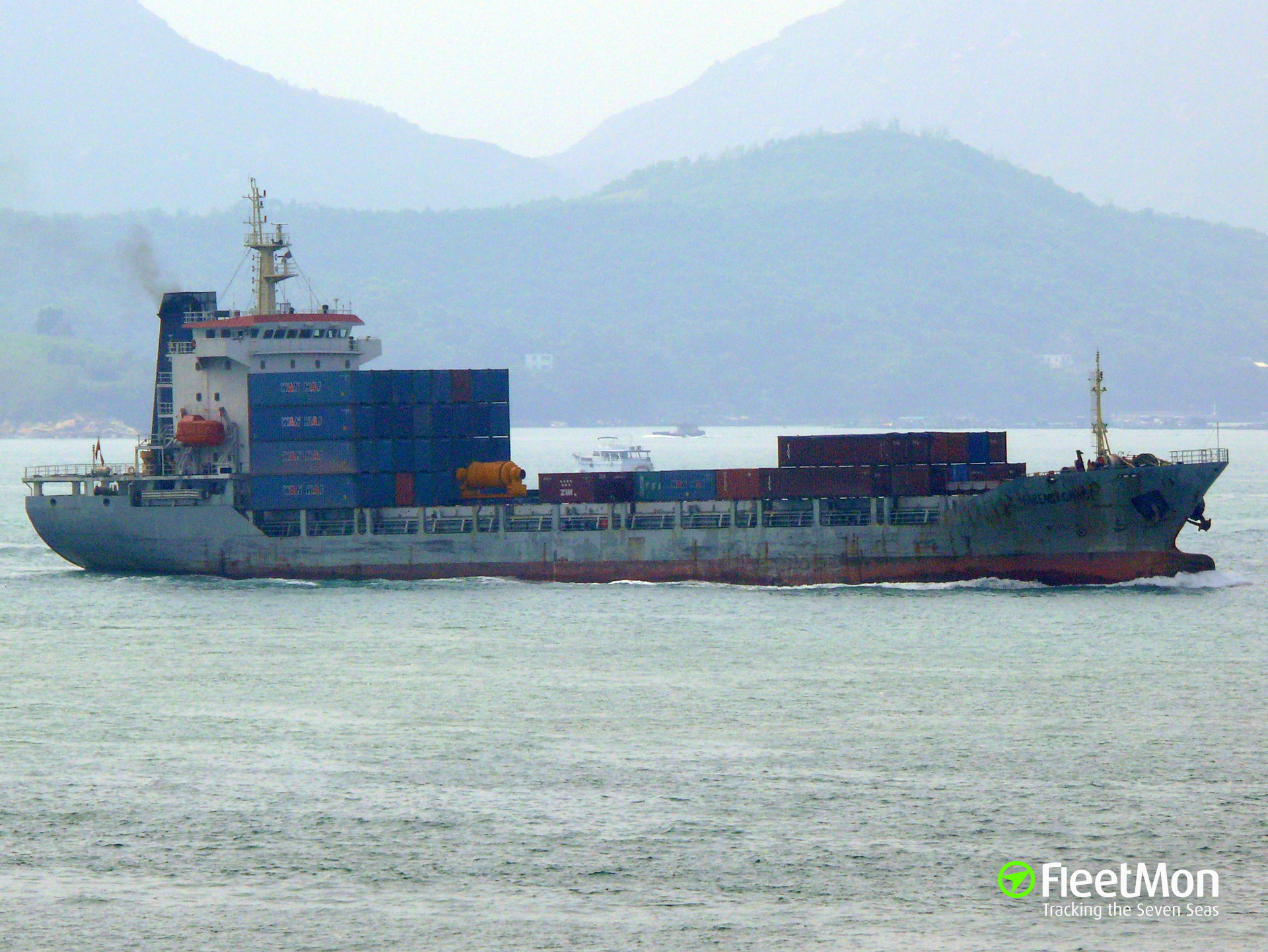 Boxship Far East Grace while berthing allided with three docked vessels, China