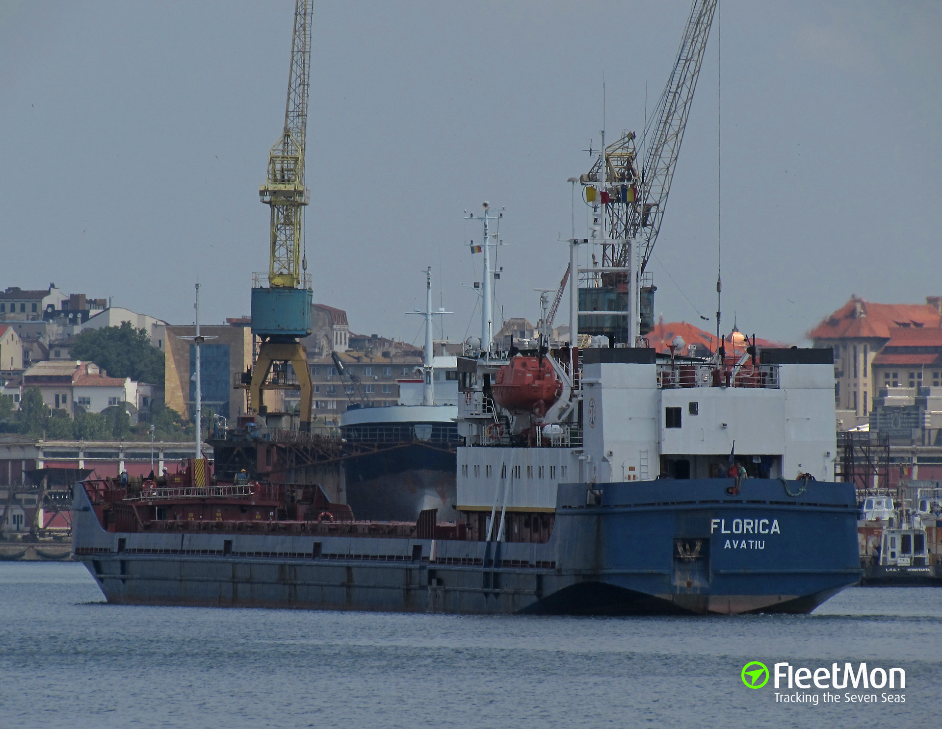 Freighter Florica allided with pier, Azov port, Russia
