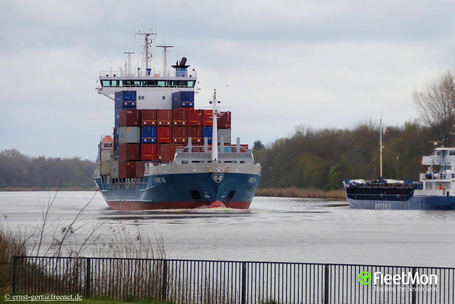 Boxship Freya lost man overboard, UK