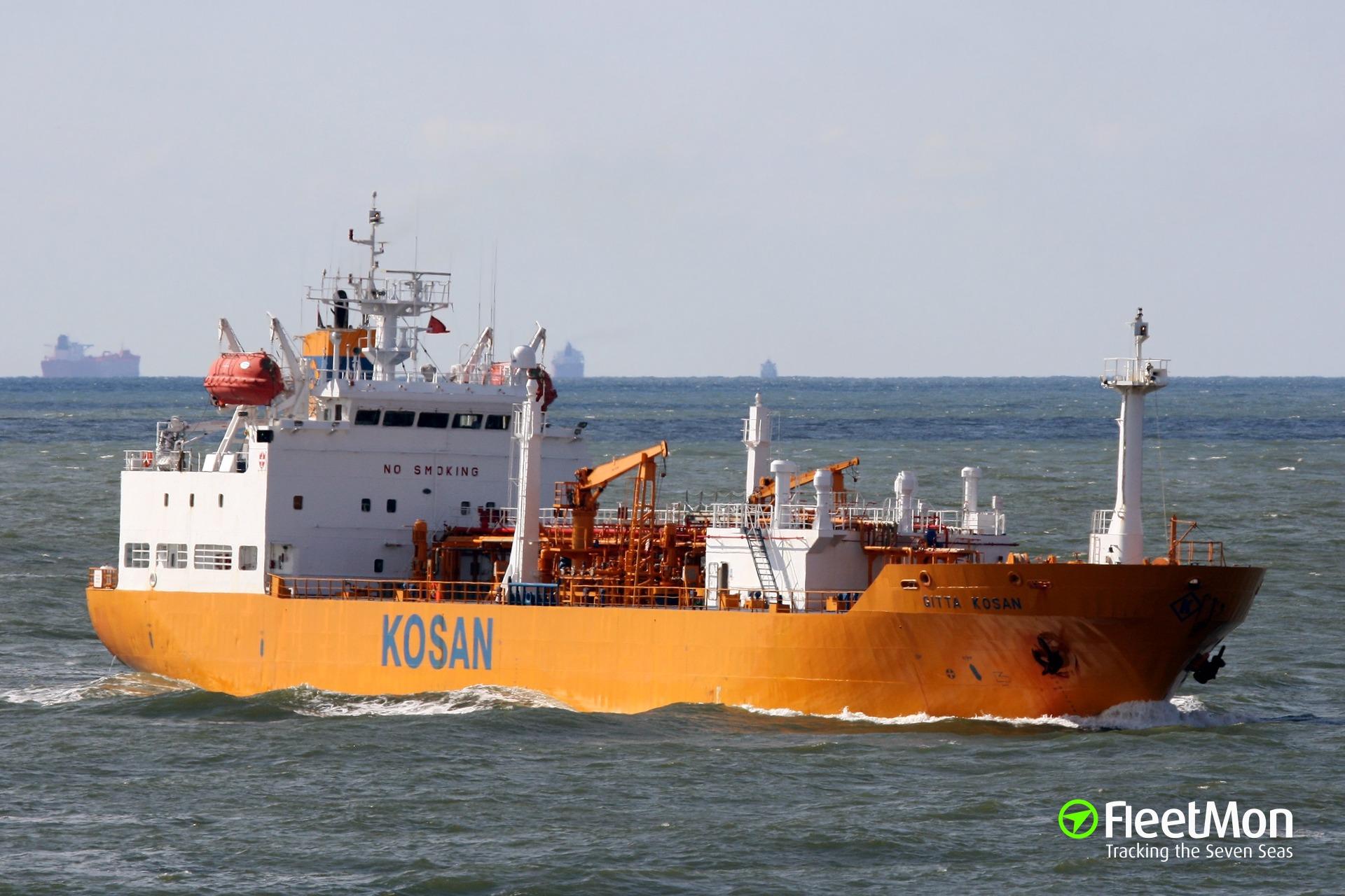 LPG tanker GITTA GAS troubled