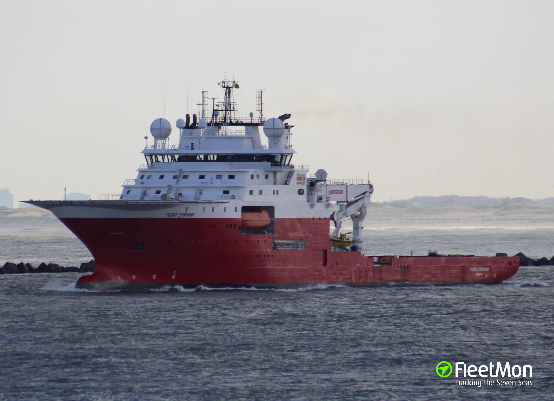 Fire on board of offshore supply vessel, Scotland