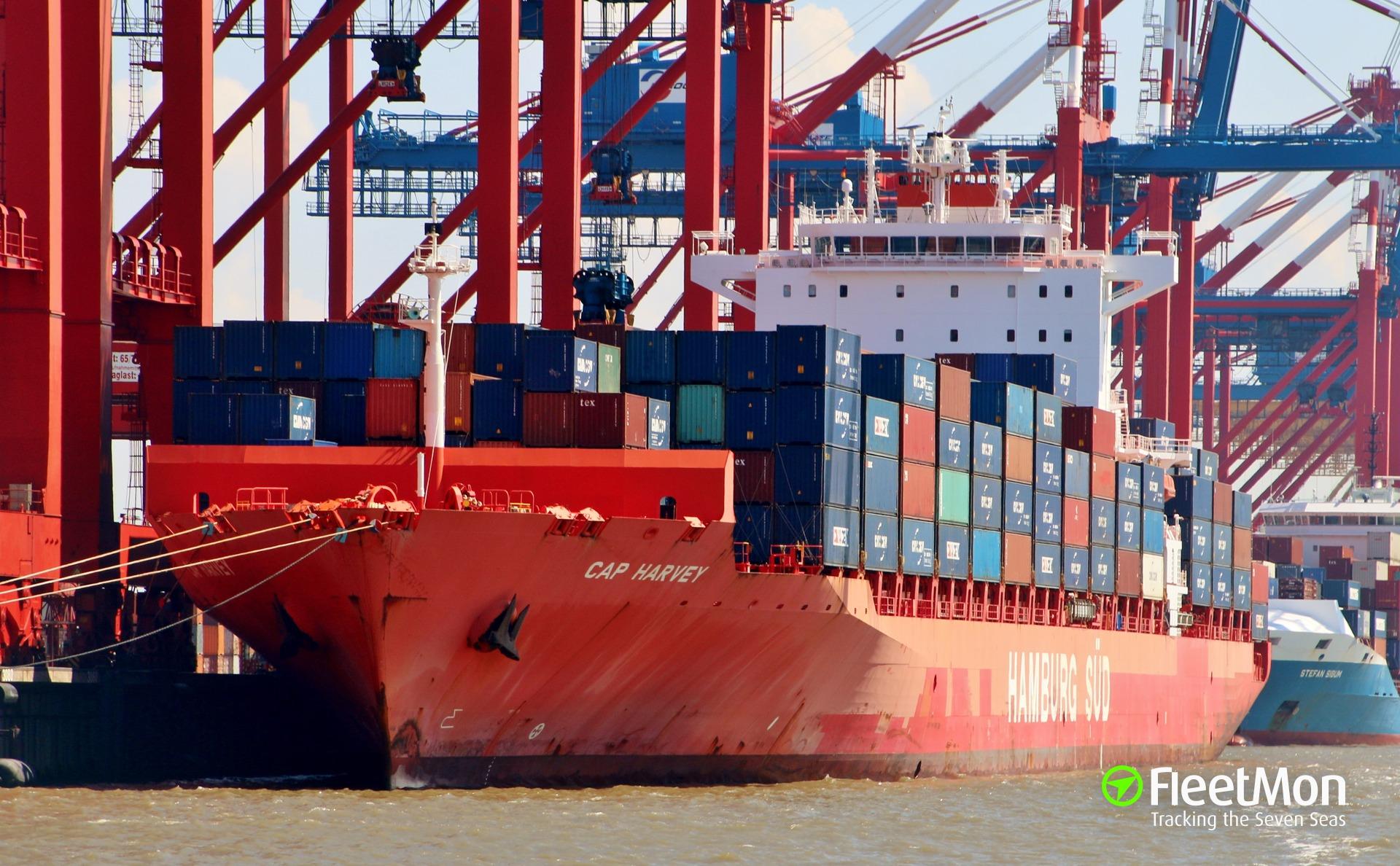 Boxship NYK Olypmus blackout, Elbe