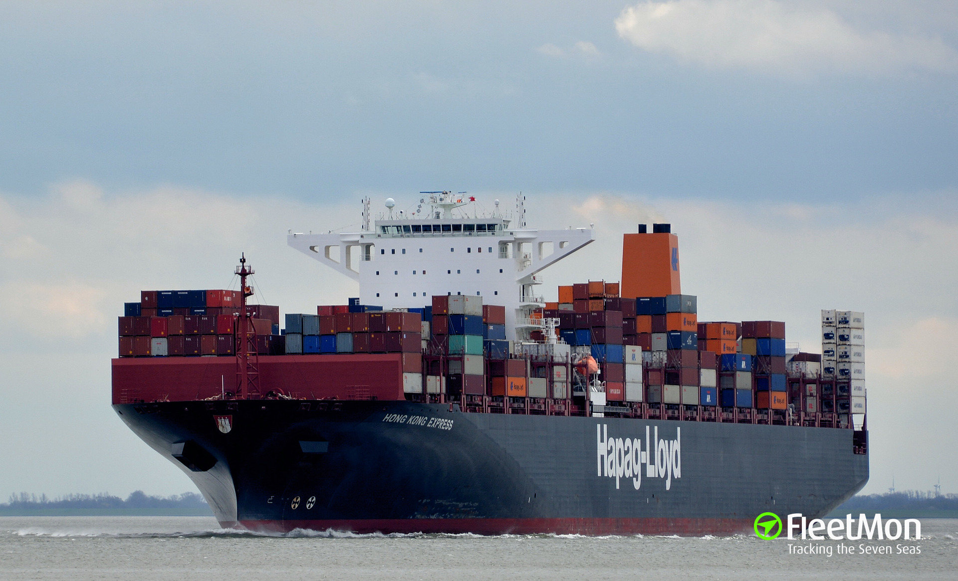 Mega boxship HONG KONG EXPRESS vs. freighter BBS SKY, North Sea