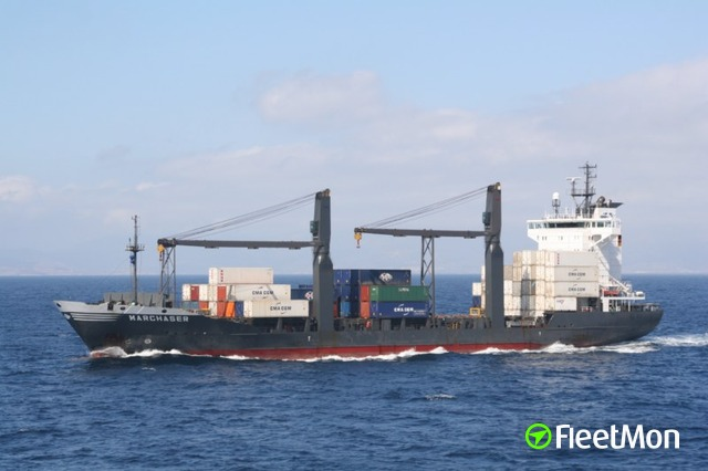 Cargo ship damaged crane in Volos, Greece