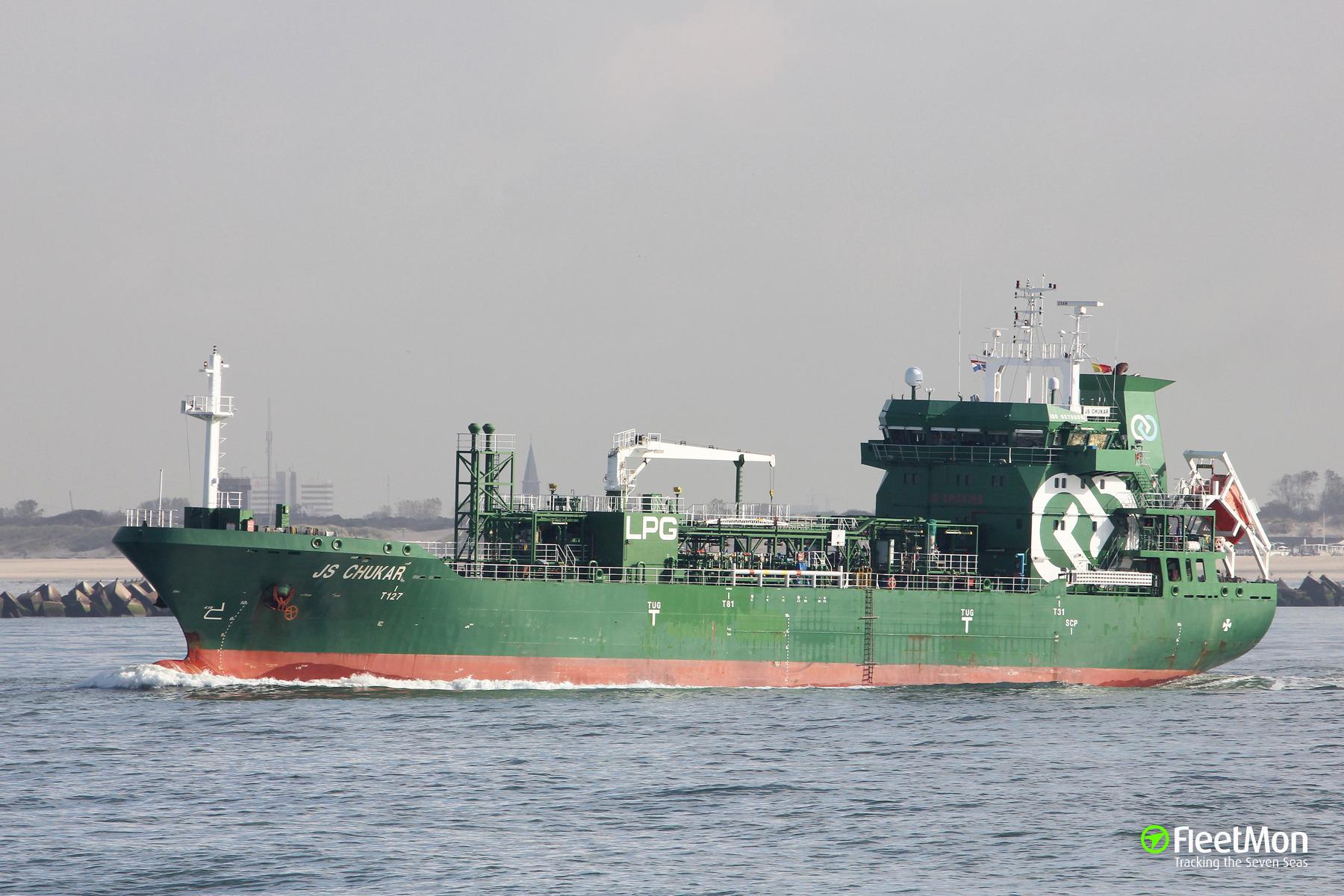 LNG tanker JS Chukar ran aground in Kerch Strait