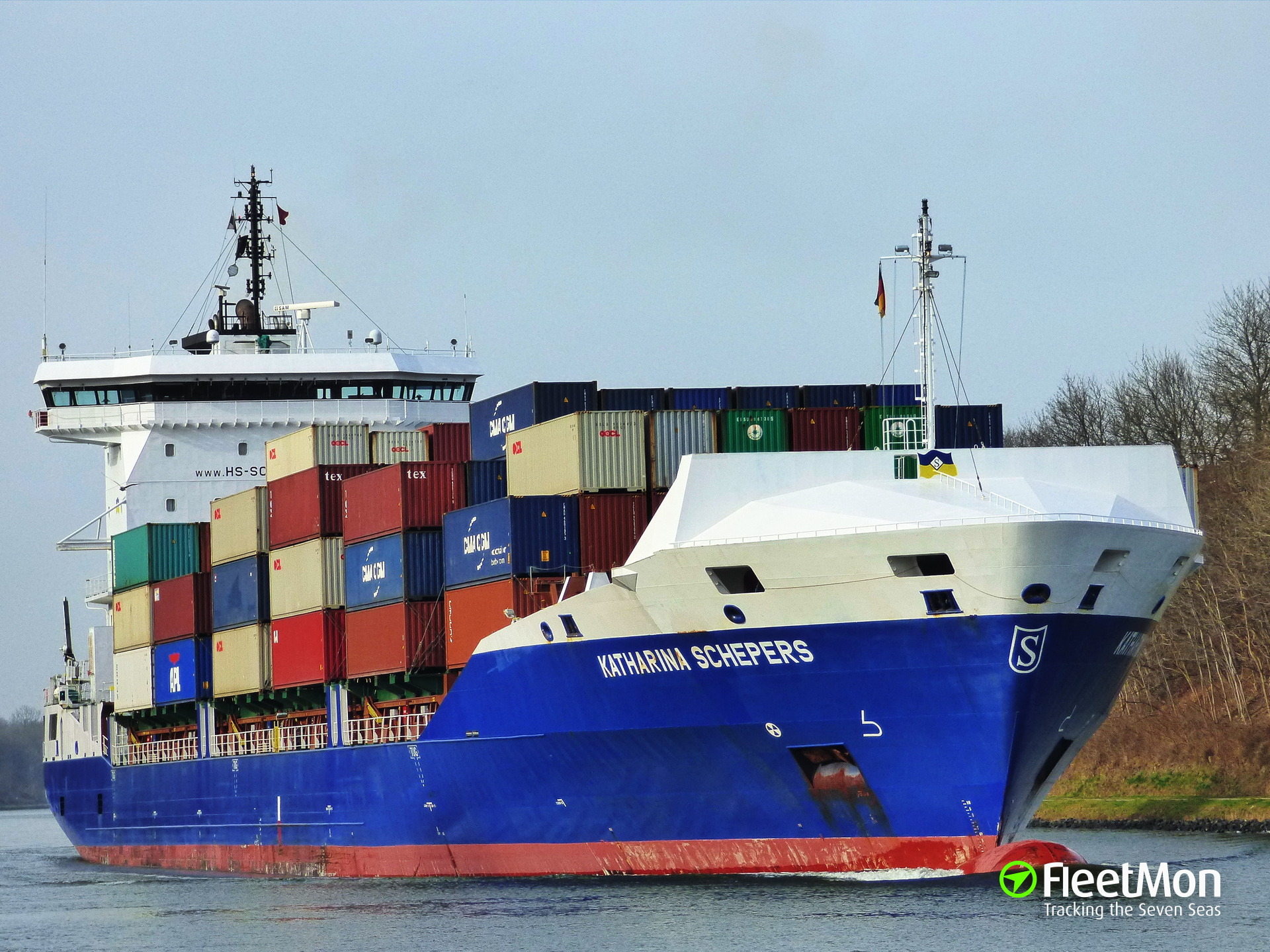 Container ship collided with dolphin in Kiel Canal