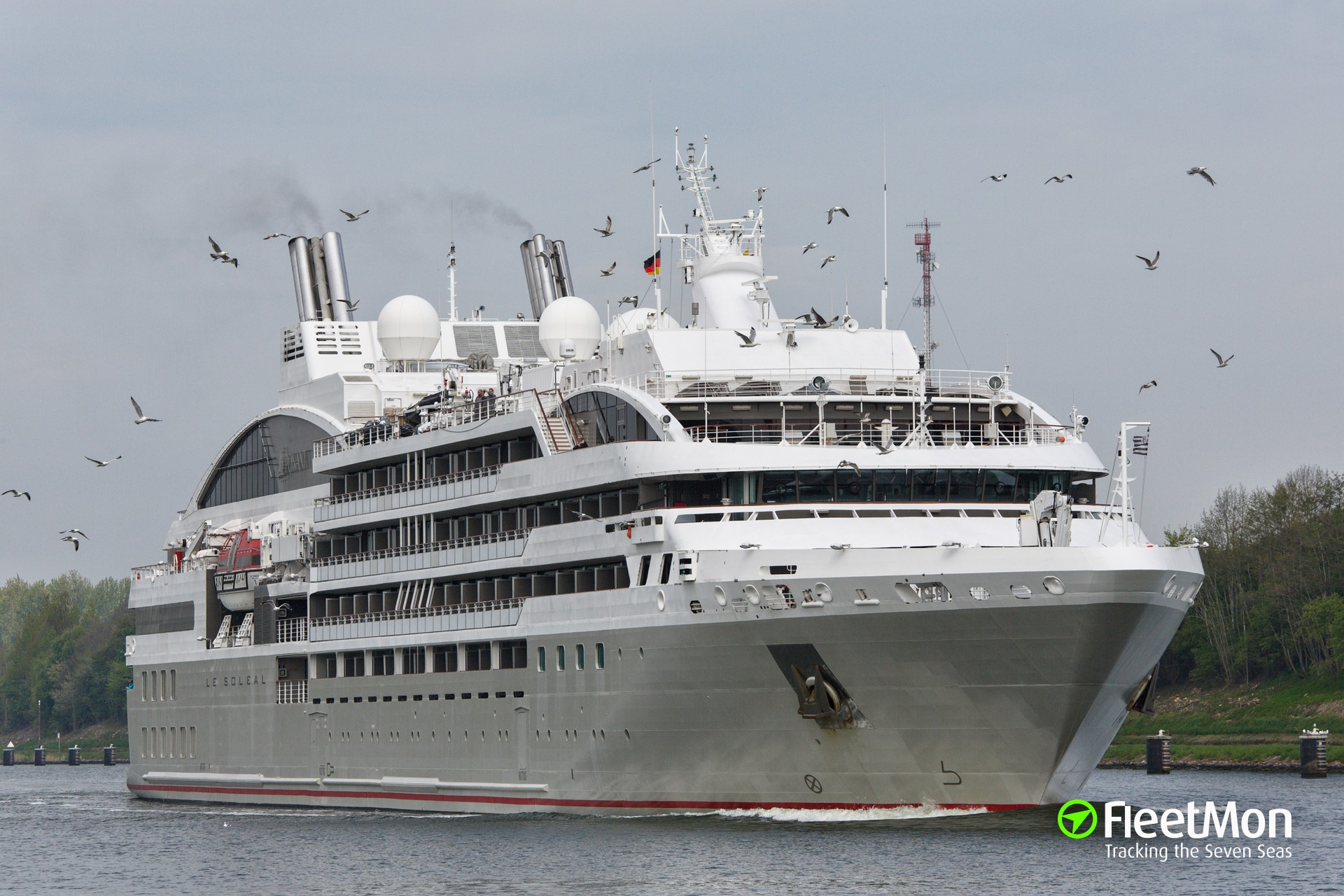 Luxury French cruise liner Le Soleal aground in Bering Strait, Russia