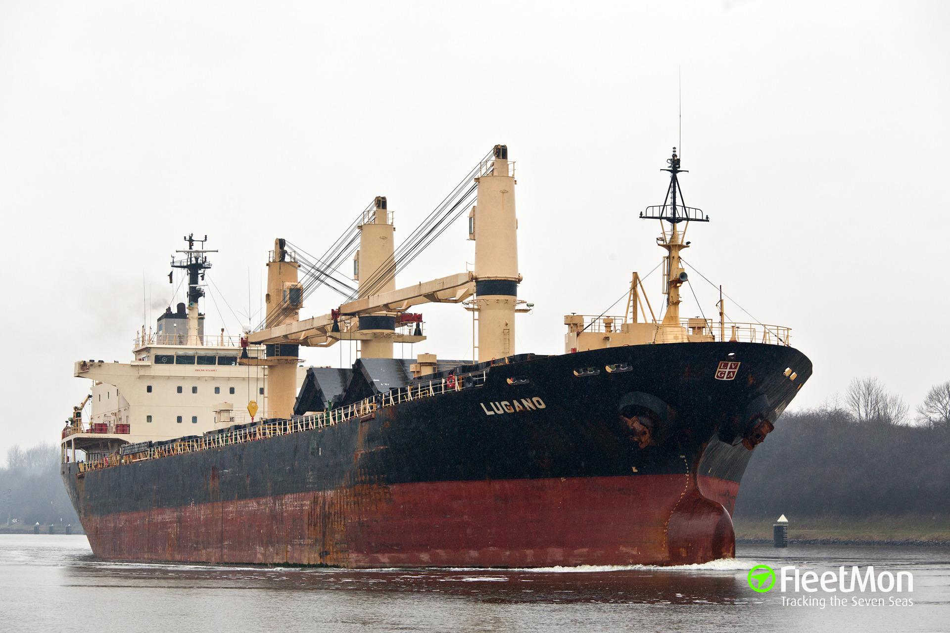 Swiss bulk carrier Lugano aground in Rio de La Plata