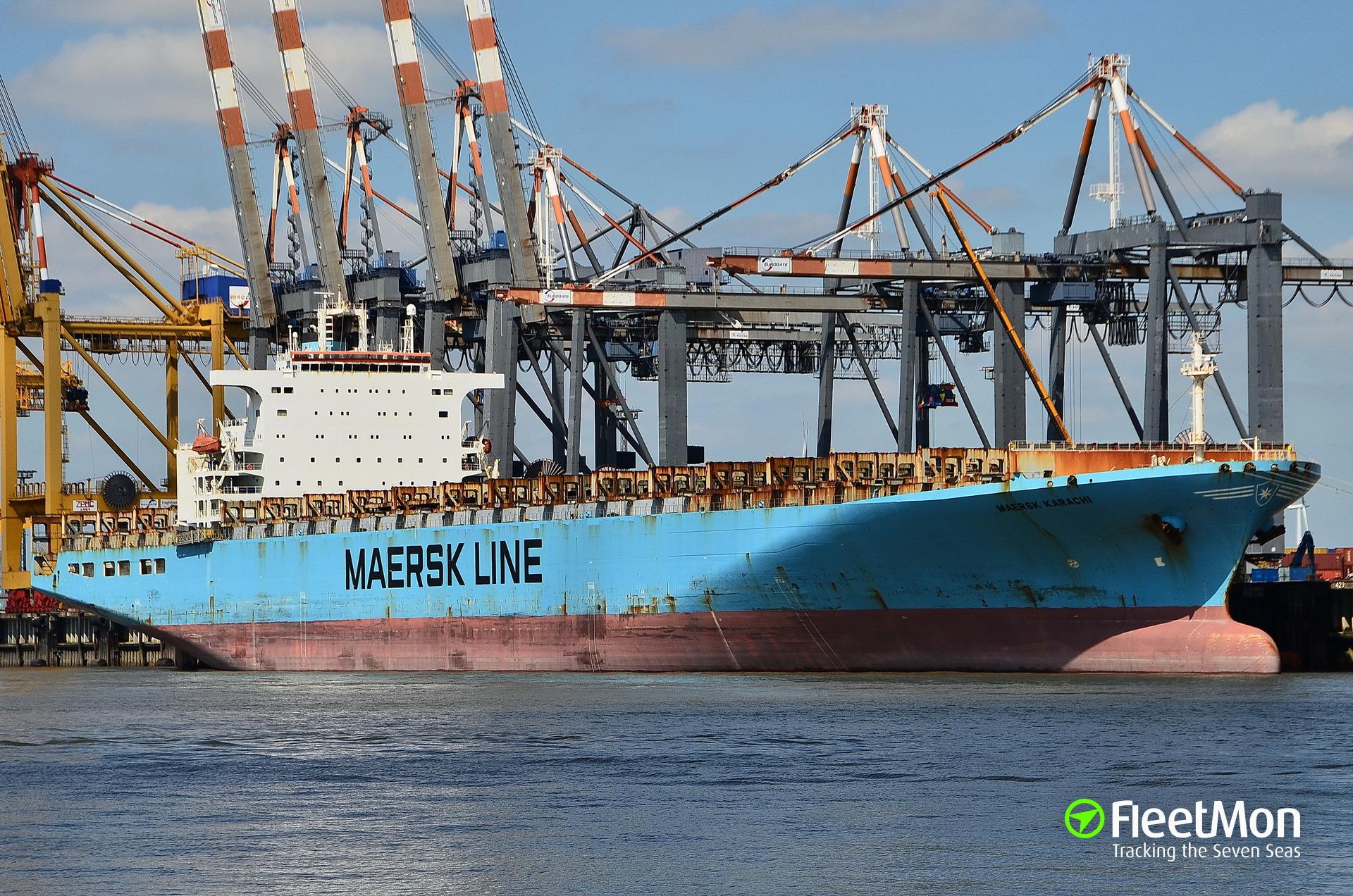 Container crane collapsed, crashed onto boxship Maersk Karachi, one missing