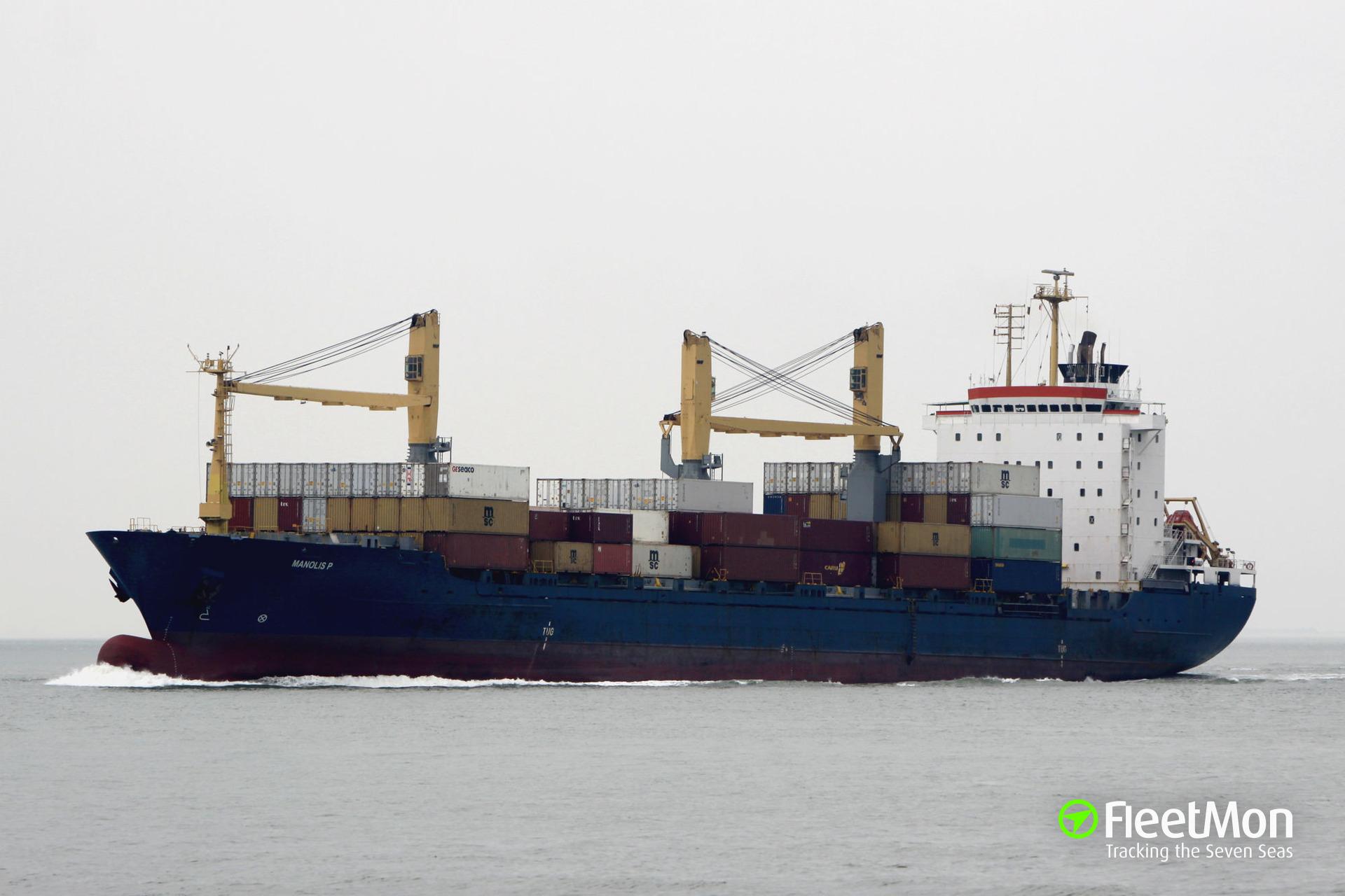 Boxship Manolis P in trouble in Bosphorus, Istanbul