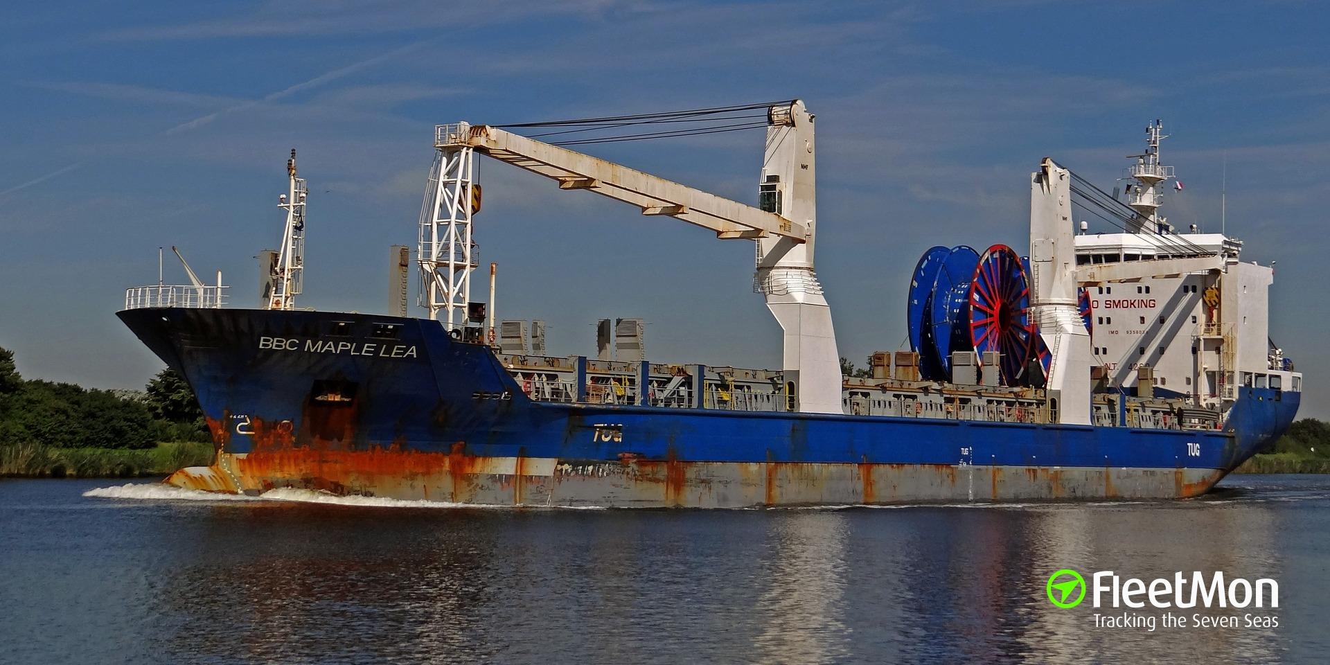 General cargo vessel BBC MAPLE LEA grounding