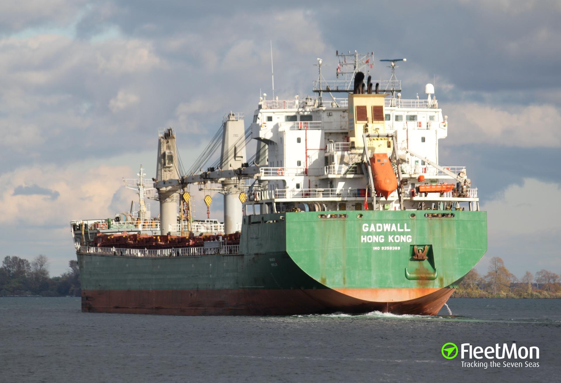 Bulk carrier GADWALL under tow, Gulf of St. Lawrence