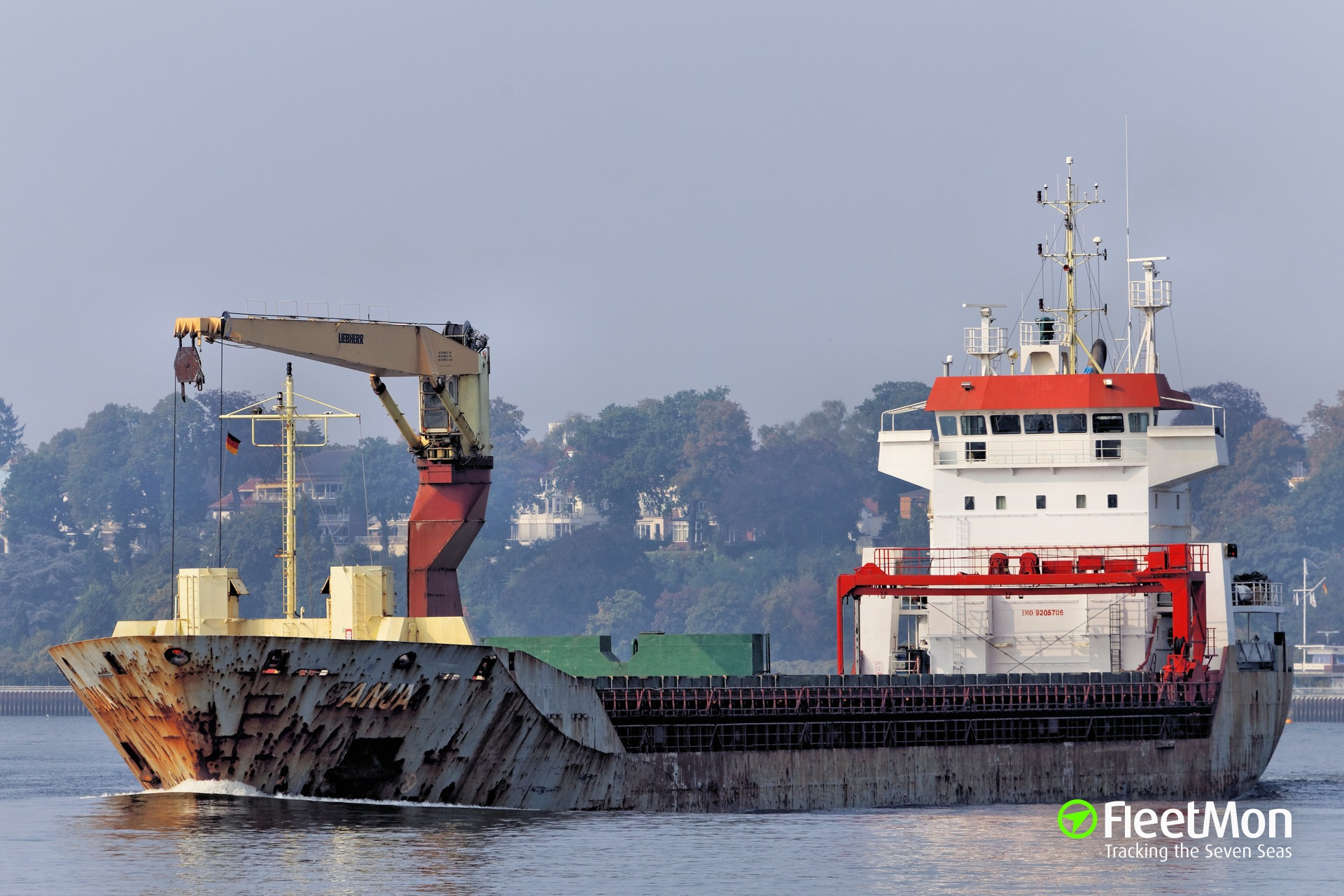 General cargo vessel Anja collided with a pier, Elbe