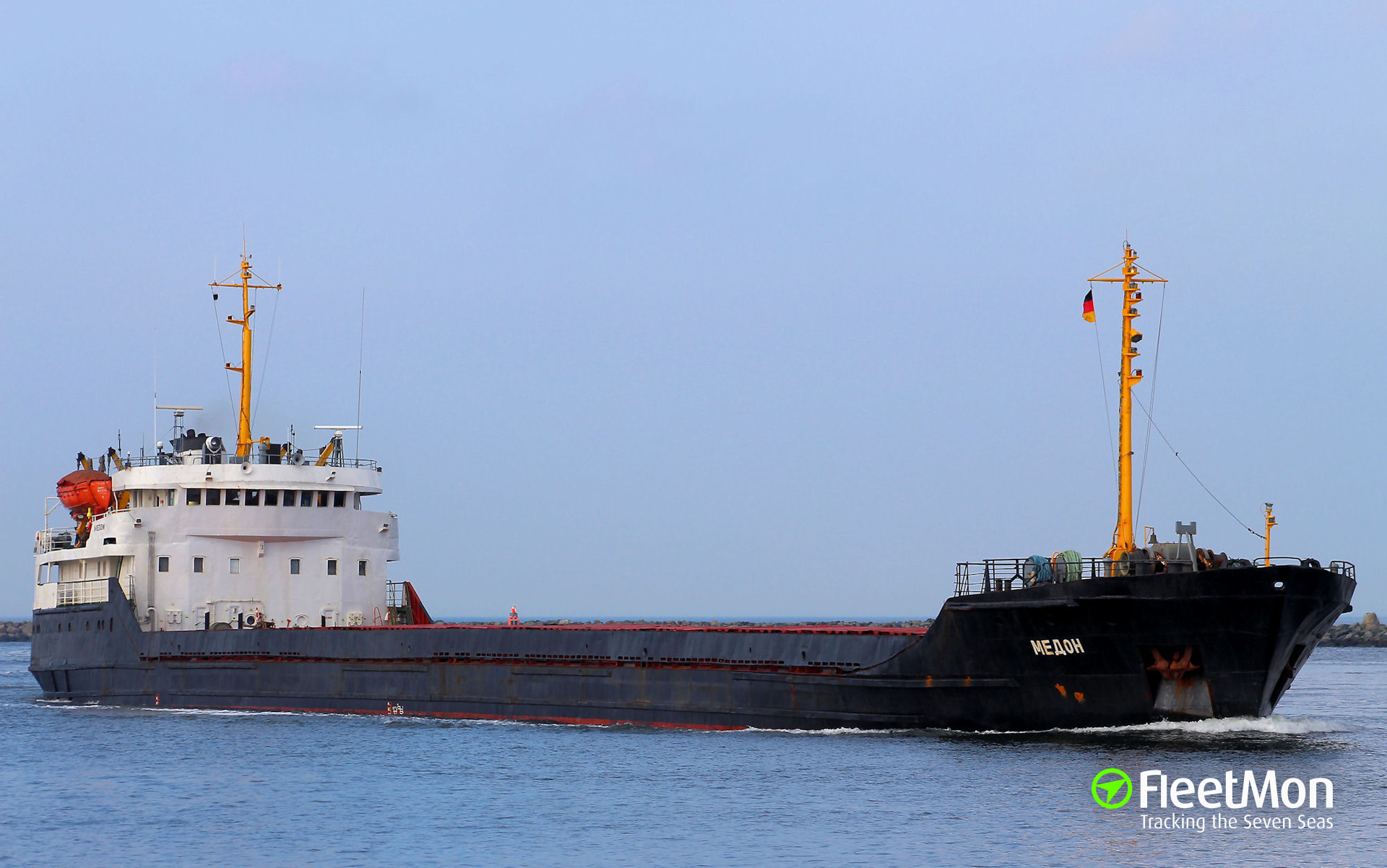 Freighter ran aground leaving S-Petersburg port, Baltic sea
