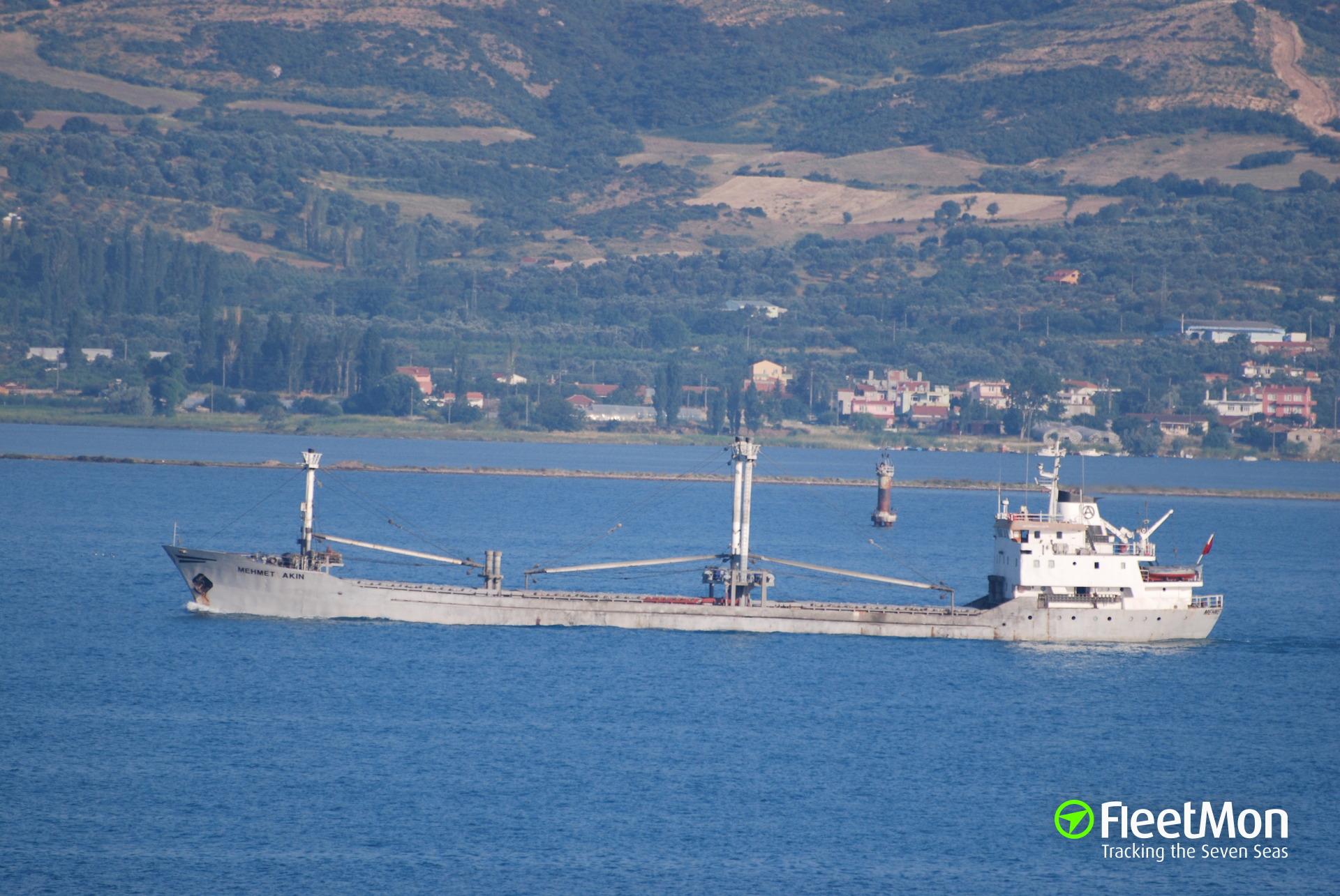 MEHMET AKIN breached in collision with pier, Turkey