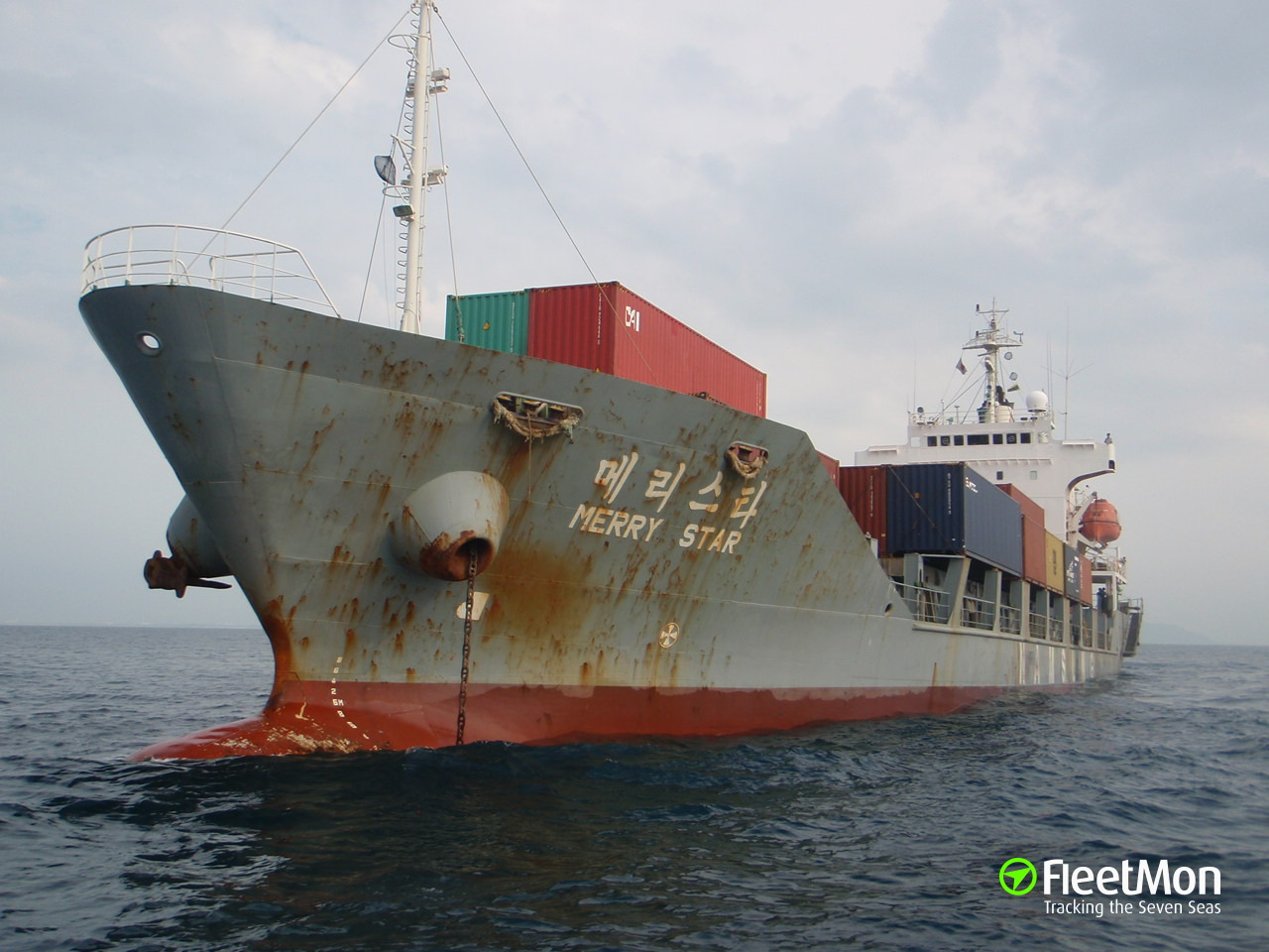 Container ship Merry Star still aground, Japan