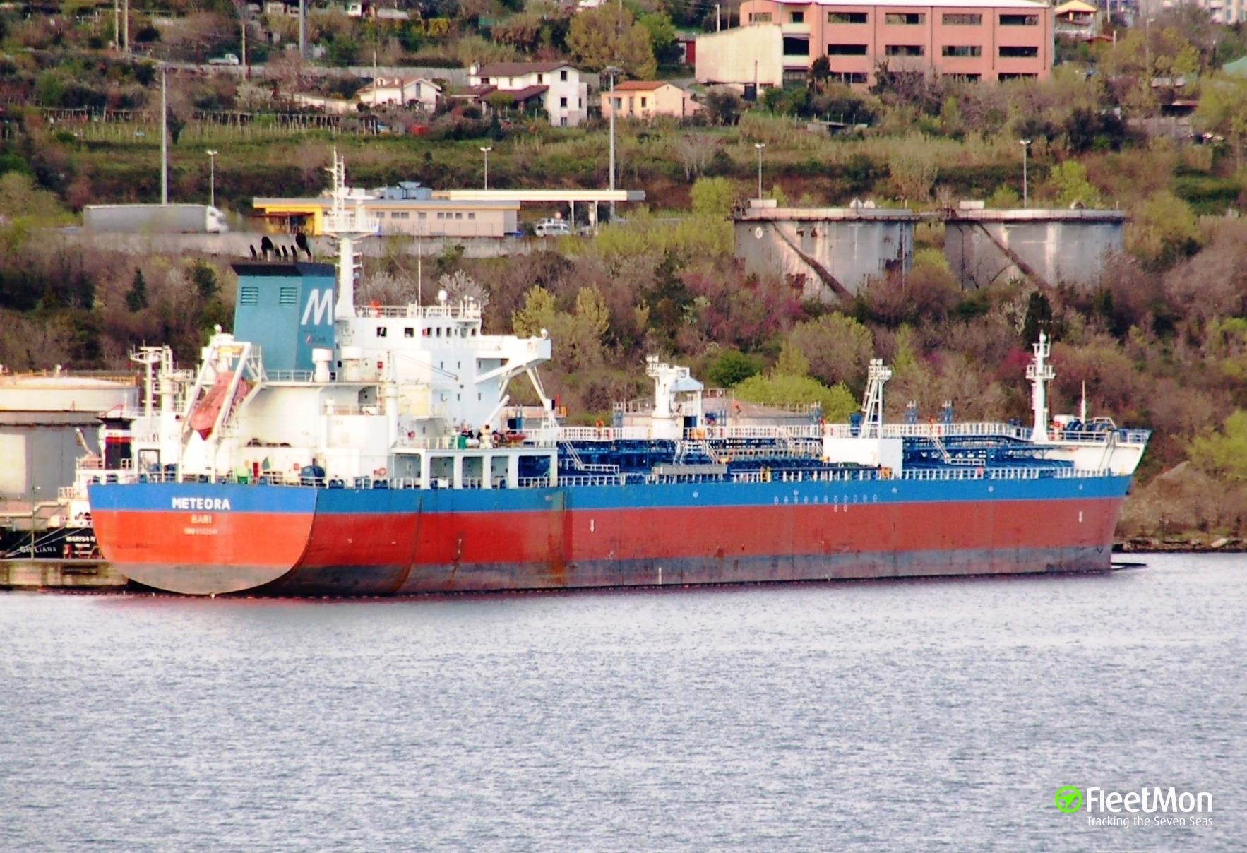 Chemical tanker Meteora aground off Dardanelles, Aegean sea