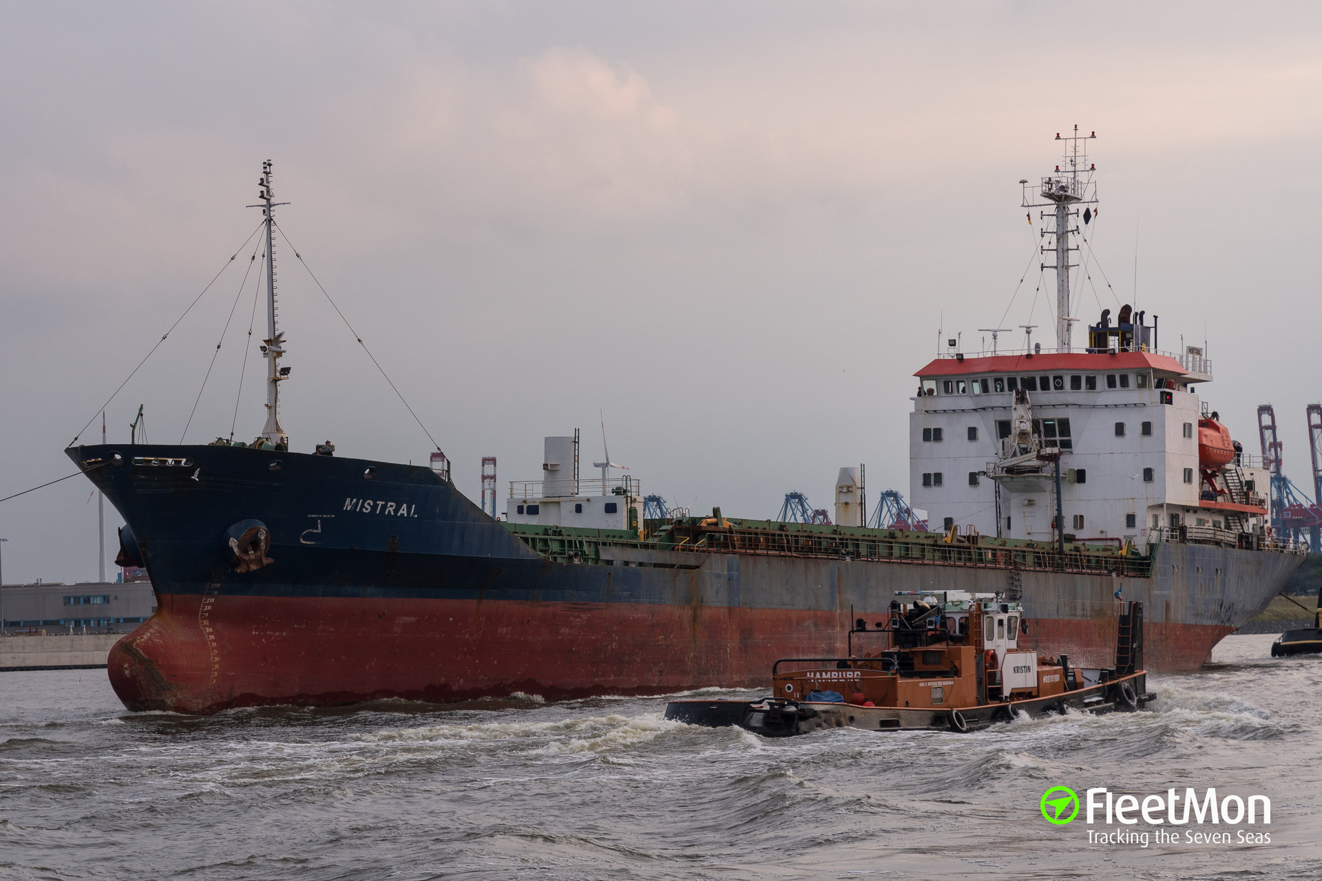 Disabled cargo ship MISTRAL under tow, North Sea