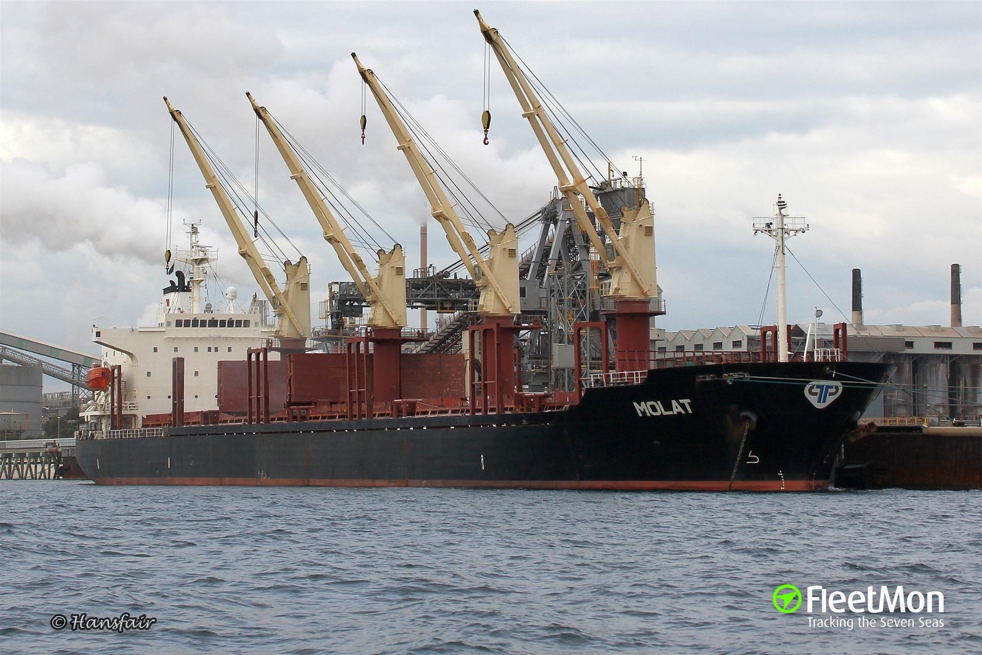 Bulk carrier MOLAT stranded off Tauranga since Sep 6
